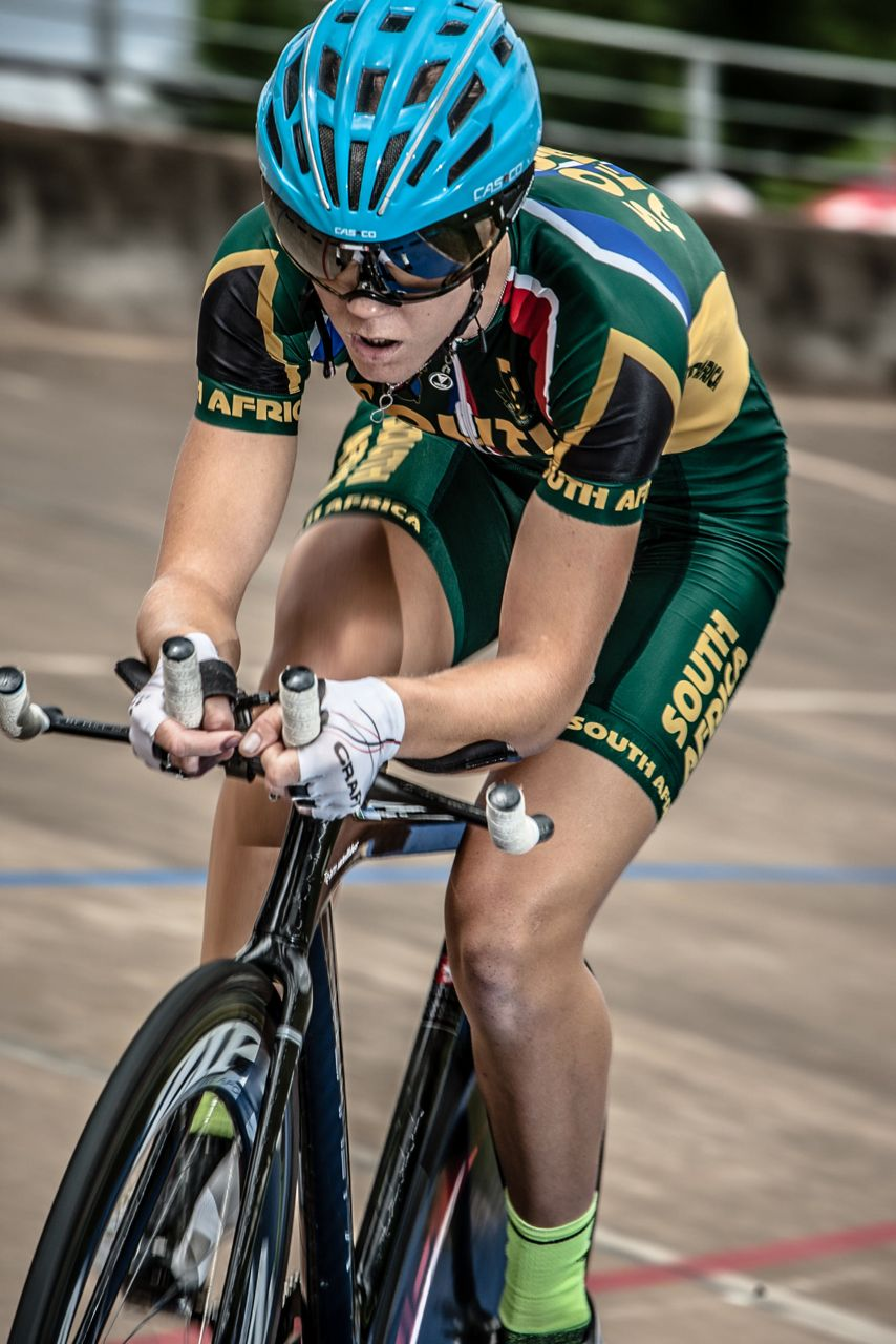 With her eyes set on a clean sweep of gold medals at the 2015 South African National Track Championships track ace Maroesjka Matthee started brightly claiming gold in the Elite Women's Individual Pursuit on Day One of the champs at the Hector Norris Park Cycling Track in Johannesburg on Tuesday. ©      craigdutton.com