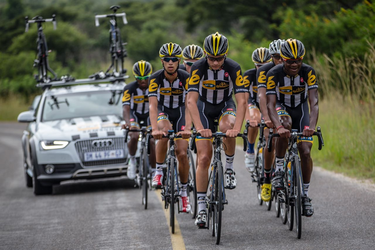 Photo Caption: The World Cycling Centre Africa MTN-Qhubeka Feeder Team riders will be competing in the KZN Autumns Series on Monday 27 April, 1 May and 3 May. Faces from far left: Clint Hendricks, Jayde Julius, Oliver Stapleton-Cotton, Gustav Basson, Stefan de Bod, Graeme Ockhuis (not competing) Nicholas Dlamini ©craigdutton.com