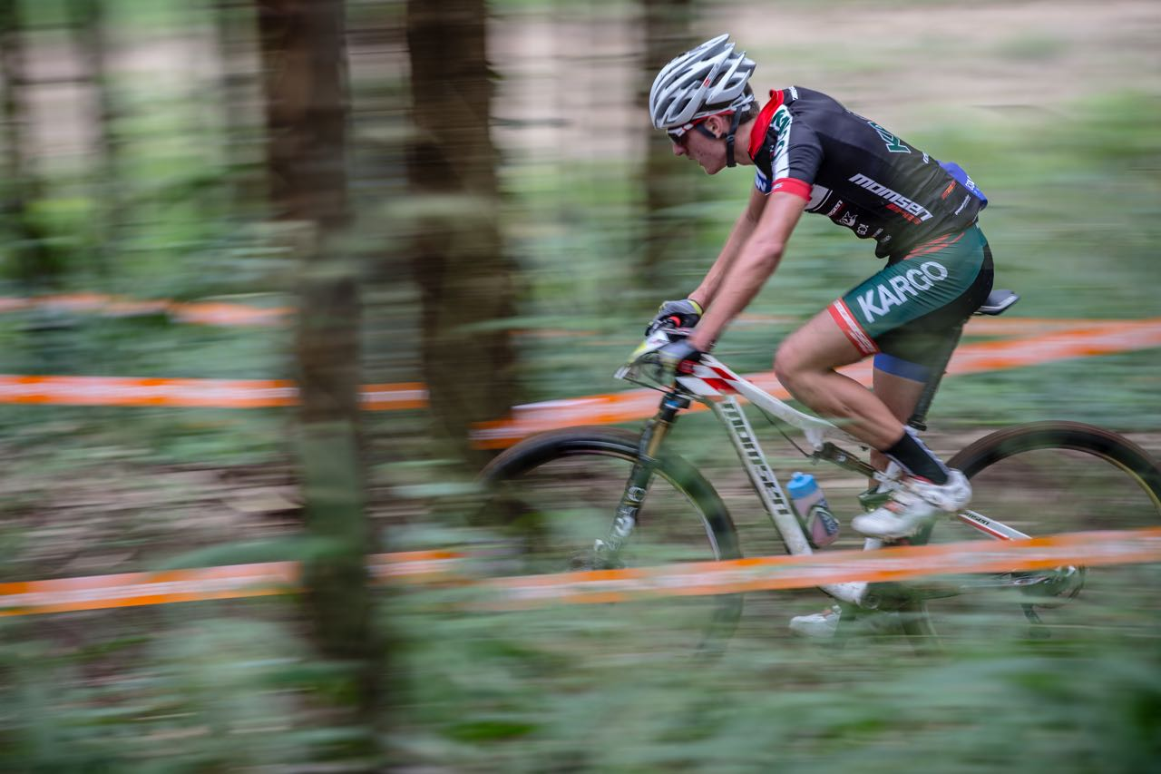 Pro Team rider Alan Hatherly took the gold medal at the third round of the 2015 Stihl SA MTB XCO Cup at Mankele MTB Park in Mpumalangaon Saturday 25th April. ©craigdutton.com