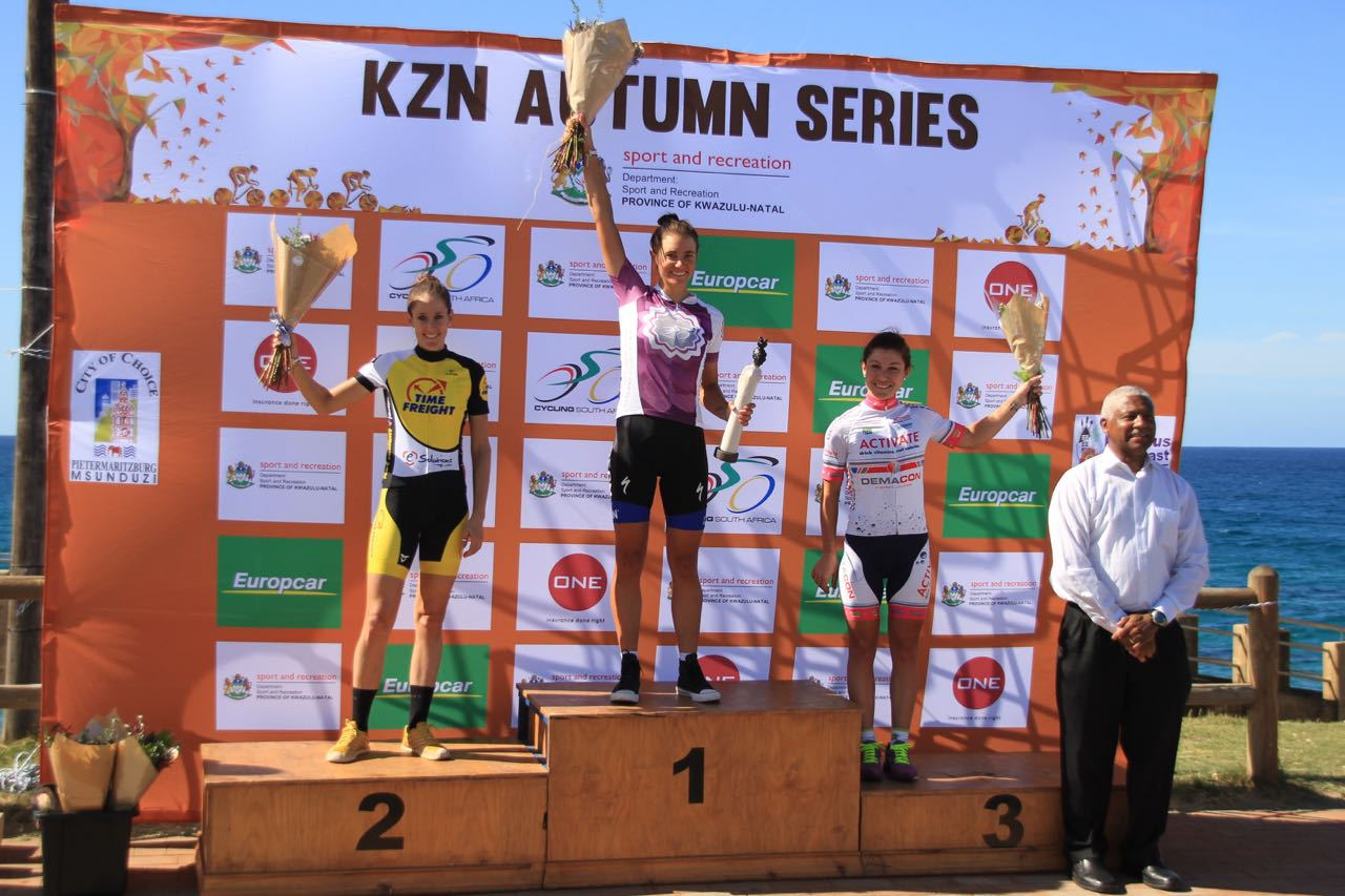 The Women's podium (from left) Lise Olivier (Time Freight eTeam), Cherise Stander (CSA Women's Development team) andAn-Li Kachelhoffer(Active) at theHibiscus Coast Cycle Challenge in Margate on Sunday 3 May 2015.Photo: supplied