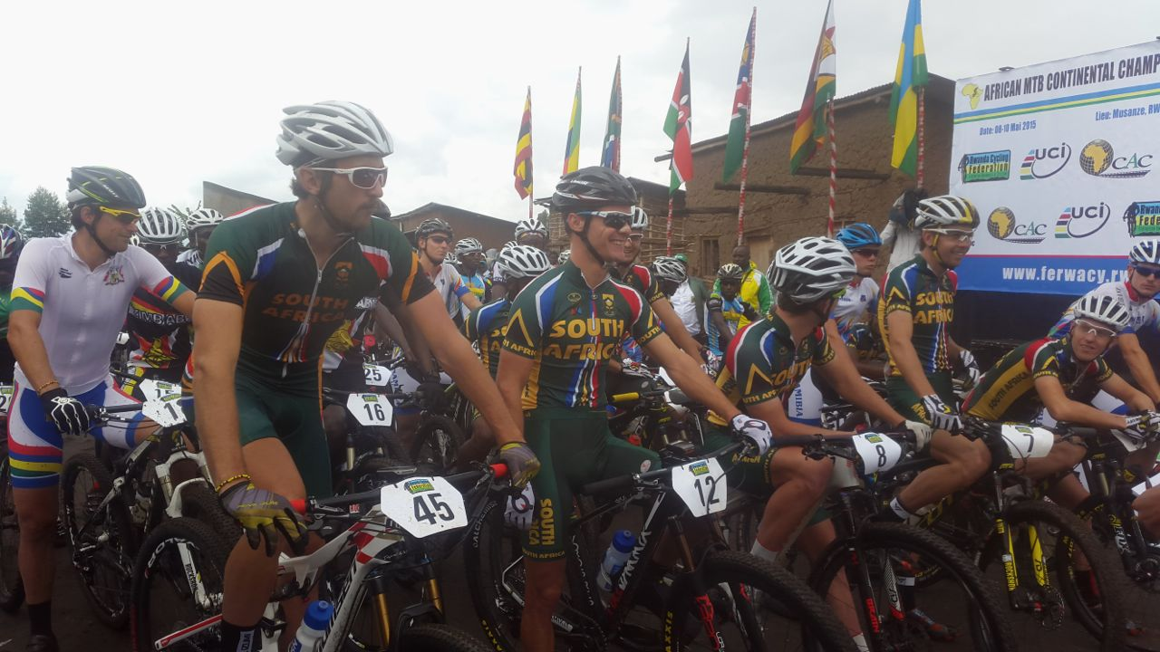 The start of the Elite Men'srace at the 2015 African Mountain BikeContinentalChampionships, which took place in Musanze, Rwanda from 8-10 May. Photo: Supplied