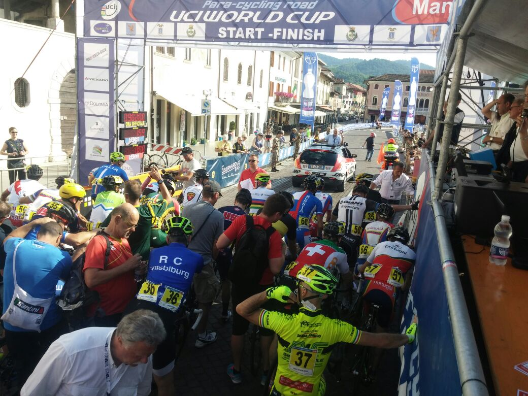Craig Ridgard ready to roll in the start bunch at the 2015 UCI Para-cycling Road World Cup in Maniago, Italy from 5 - 7 June.