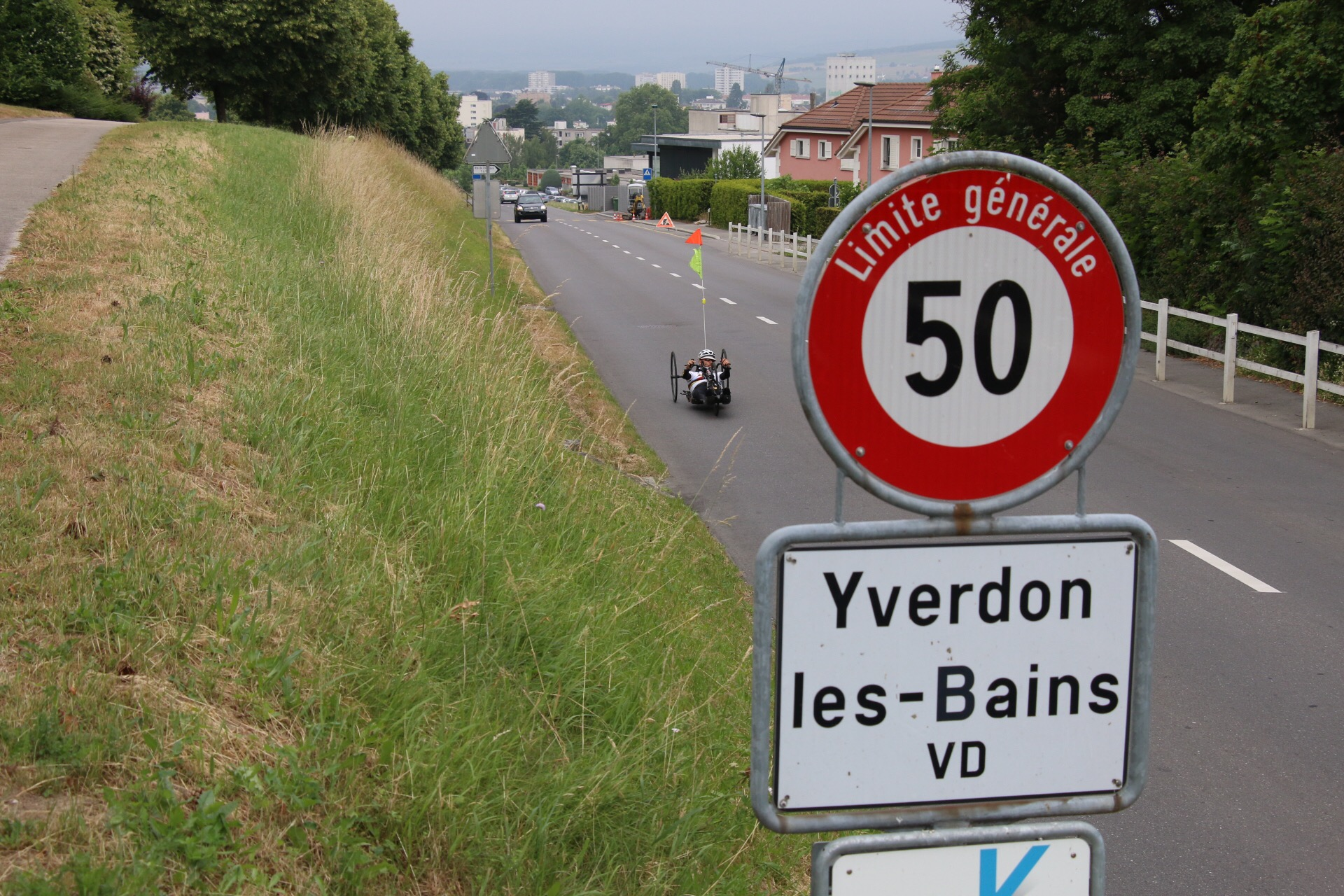 The 14.15km TT route is dead flat but has a persistent head-wind affecting the out-ride section of the circuitat round two of the 2015 UCI Para-cycling Road World Cup in Yverdon-Les-Bains, Switzerland, from 14-16 June © Illse du Preez