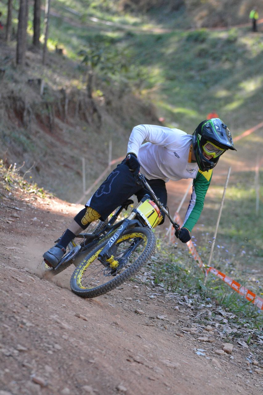 Men's Elite rider, Tiaan Odendaal, took the victory and overall series win at the fourth round of the2015 Stihl SA MTB Cup DHI at Cascades, Pietermaritzburg, on Sunday 28 June.Photo: Gavin Ryan/QuickPix Photography
