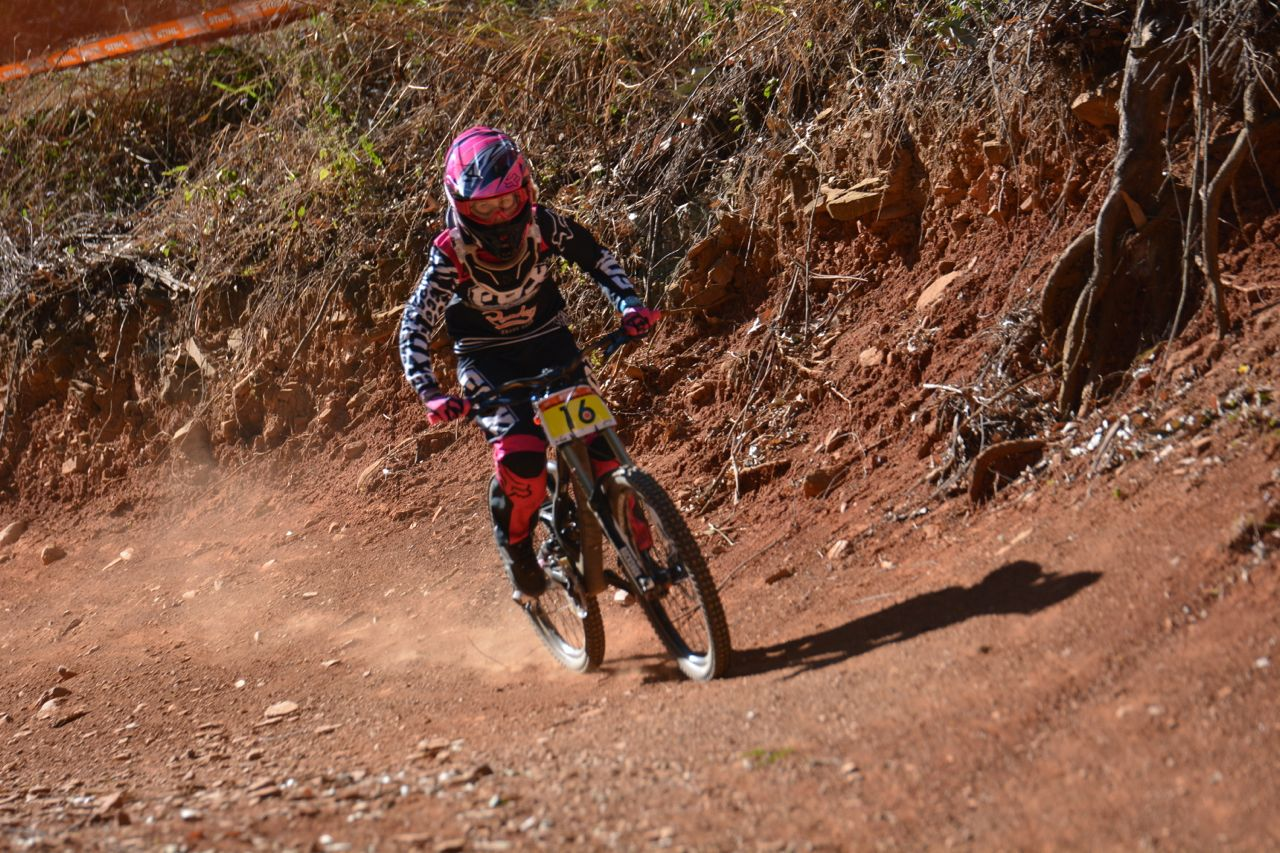 Young Sabine Thies claimed the Overall Women's win at the fourth round of the2015 Stihl SA MTB Cup DHI at Cascades, Pietermaritzburg, on Sunday 28 June.Photo: Gavin Ryan/QuickPix Photography