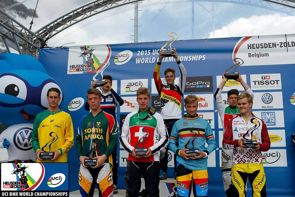 """Dylan Eggar received a World Number 7 in the 20"""" 16 Boys category at the 2015 UCI BMX World Championships at BMX track in Heusden, Belgium from 21-25 July 2015."""