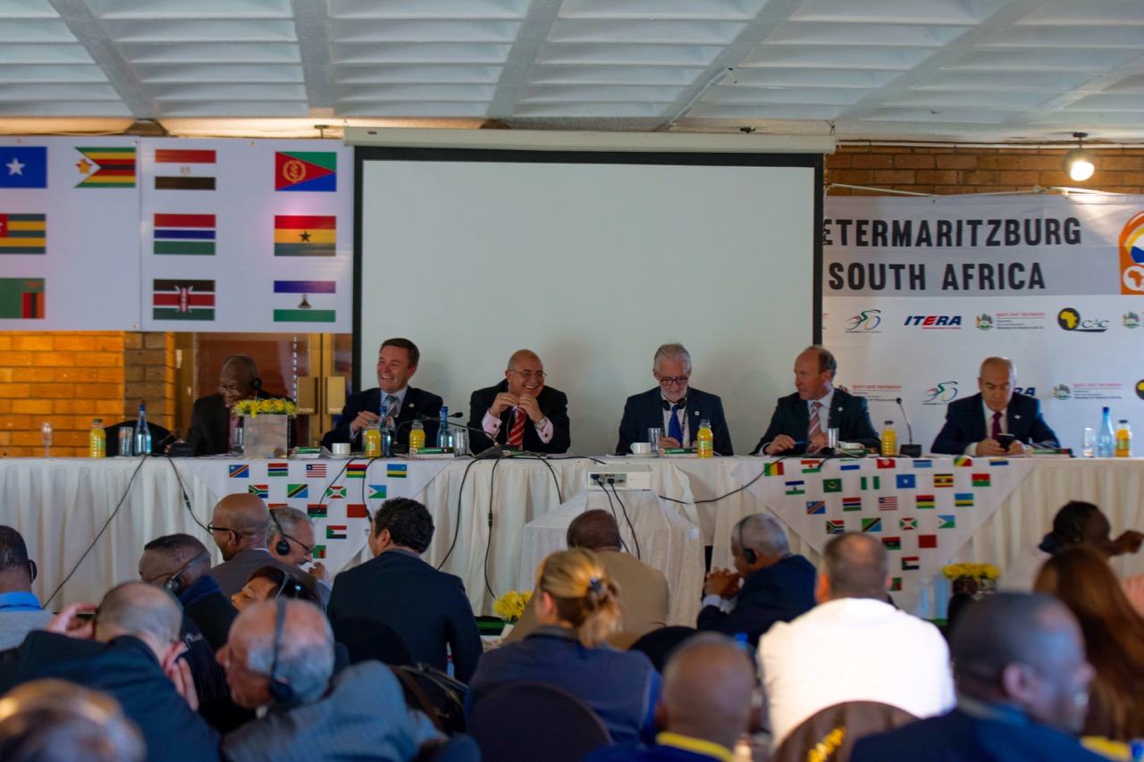From left Jean Marie Allah Kouame (Ivory Coast – Secretary General: CAC); David Lappartient (France – Vice President: UCI); Dr Wagih Azzam (Egypt – President: CAC); Brian Cookson (Great Britain – President: UCI); Tom van Damme (Belgium – UCI Management Committee Member); Emin Muftuoglu (Turkey – UCI Management Committee Member) during the 2015 CAC Congress, which formed part of the inaugural 2015 CAC Forum at the Victoria Country Club in Pietermaritzburg on 5 August. Photo: Andrew McFadden/BOOGS Photography