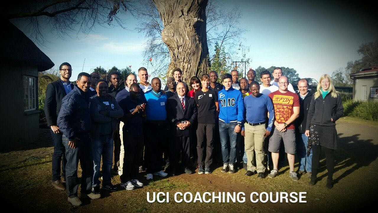 Vice President of the UCI and African Confederation PresidentDr. Wagih Azzam (centre) with participants of thewell attended UCI Level 2 Coaching Course run by Belinda Tarling (UCI World Cycling Centre High  Performance Manager) and Simon Hupperetz (UCI World Cycling Centre)for a week during the 2015 CAC Forum in Pietermaritzburg. Photo: supplied
