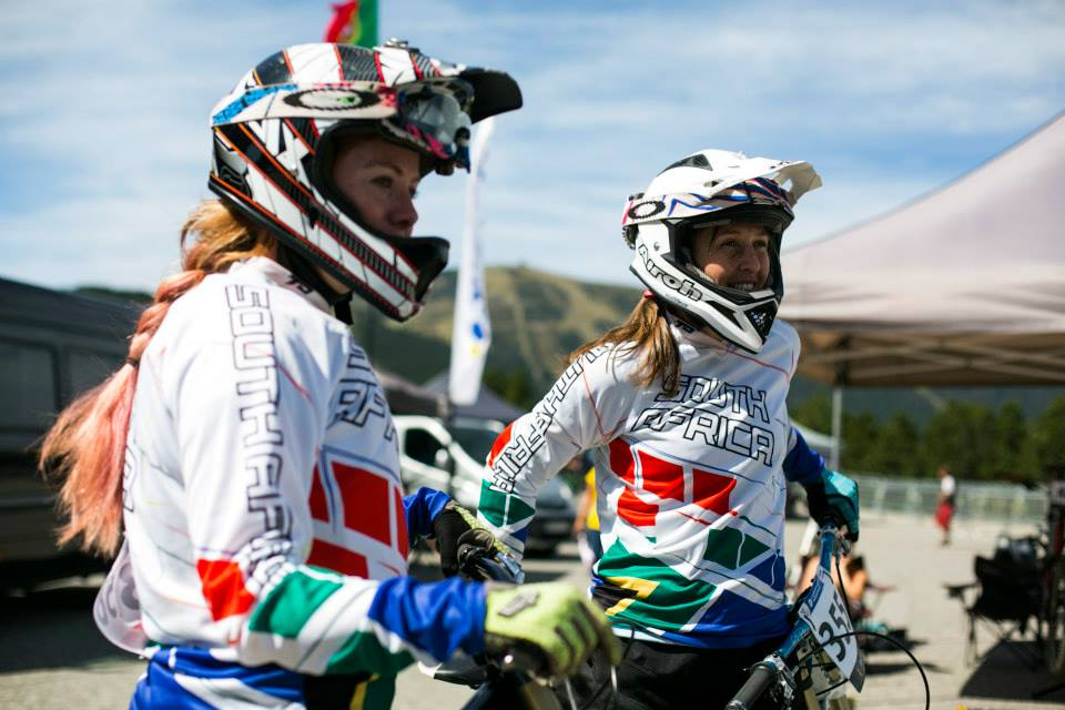 Joanne Hicks (left) finished in third place and Kathryn Fourie (right) second in the Women 30-34 category at the 2015 UCI Mountain Bike Masters World Championships in Vallnord (Andorra) from the 23-27 August. Photo: Supplied