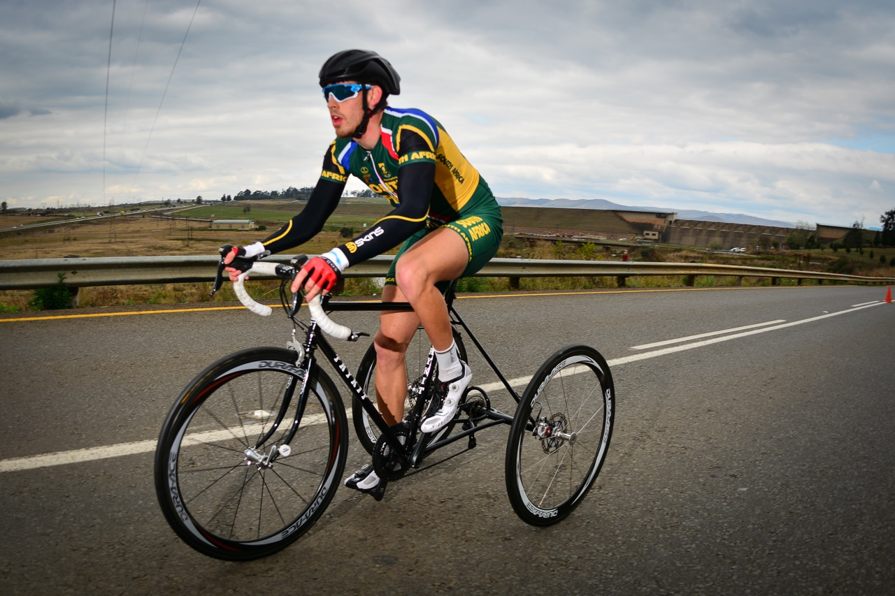 South African Goldy Fuchs claimed a bronze medal in the T2 Time Trial on day one of the 2015 UCI Para-cycling Road World Cup in Pietermaritzburg on Friday 11 September. Photo credit: Darren Goddard