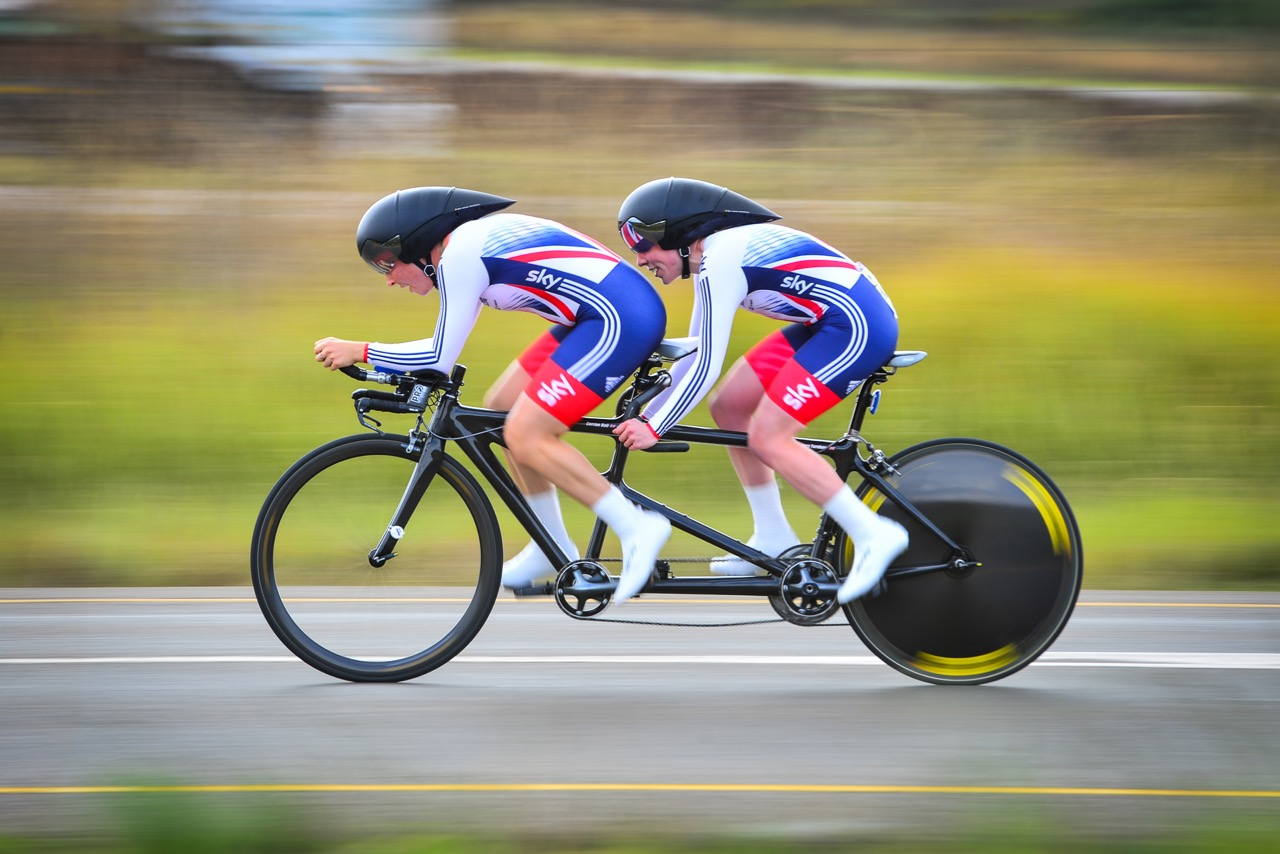 Lora Turnham and Corrine Hall (GBR) won gold by just .09 seconds in the Time Trial on day one of the 2015 UCI Para-cycling Road World Cup in Pietermaritzburg on Friday 11 September. Photo credit: Darren Goddard