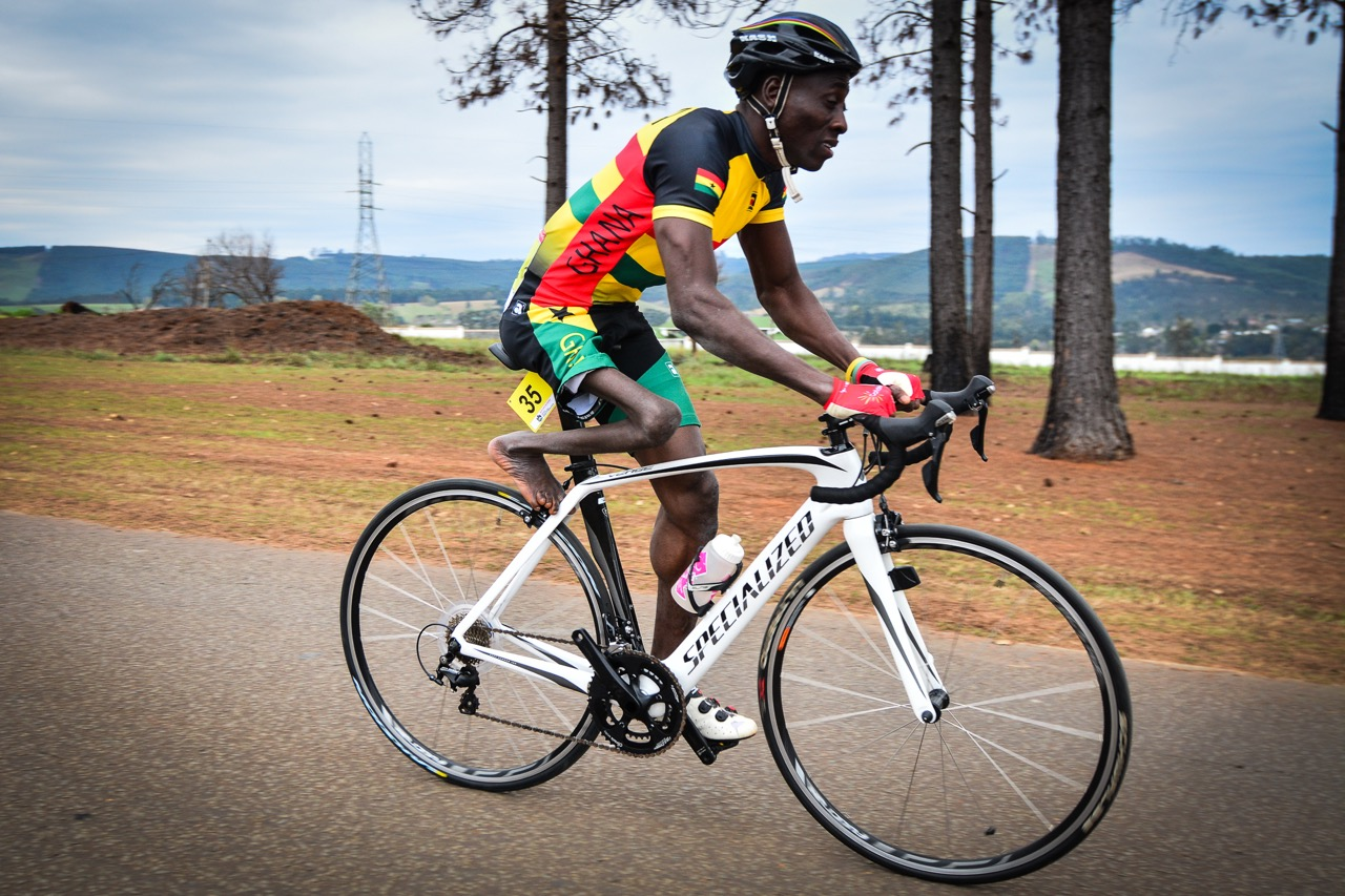 Fellow African Alem Mumuni from Ghana in the Time Trial on day one of the 2015 UCI Para-cycling Road World Cup in Pietermaritzburg on Friday 11 September. Photo credit: Darren Goddard