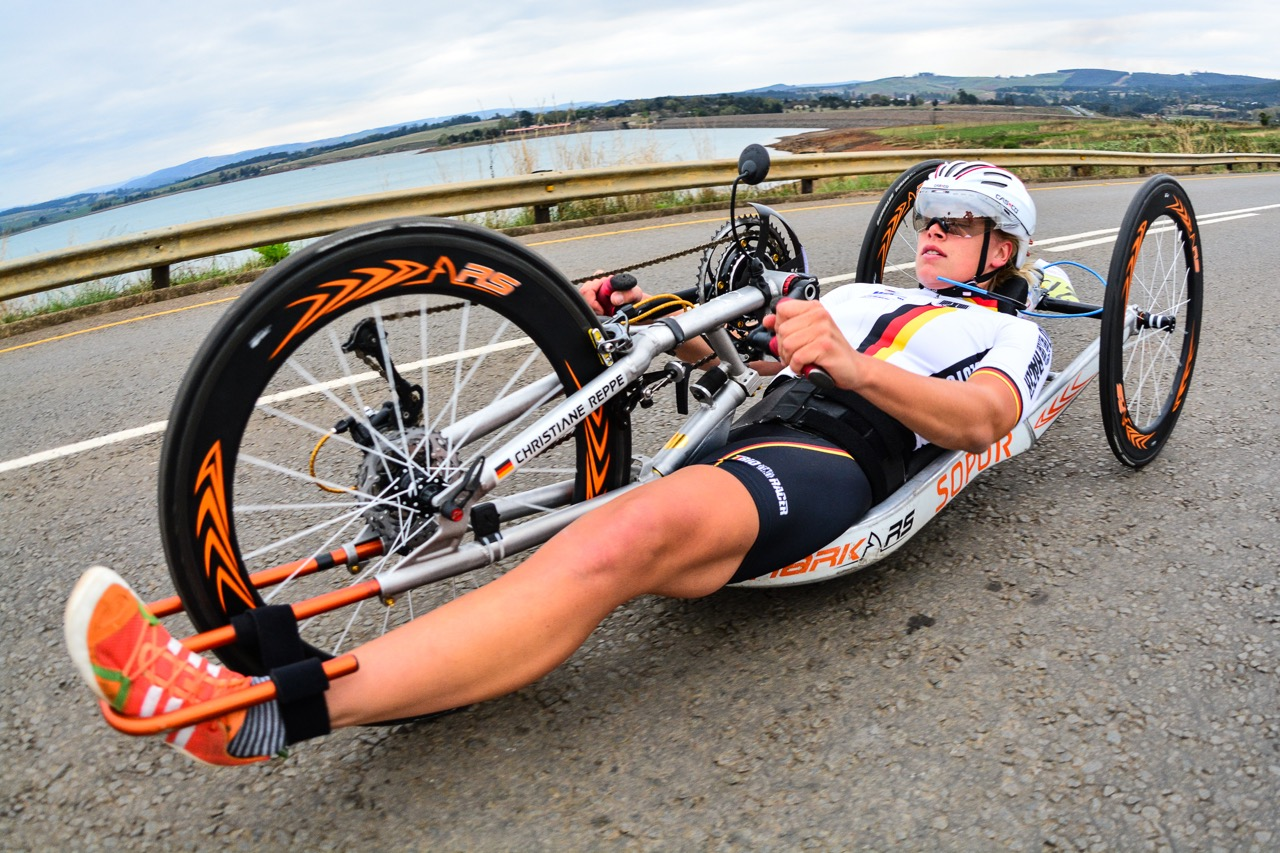 German Christiane Reppe (H4) claimed gold in the TT on day one of the 2015 UCI Para-cycling Road World Cup in Pietermaritzburg on Friday 11 September. Photo credit: Darren Goddard