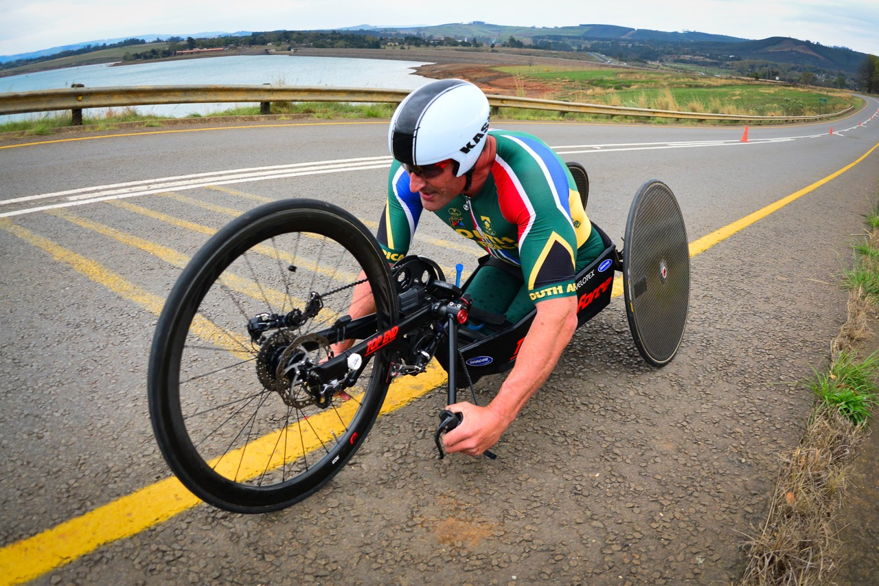 South African Ernst van Dyk (H5) faced an uphill challenge by being limited to one gear during his on day one of the 2015 UCI Para-cycling Road World Cup in Pietermaritzburg on Friday 11 September. Photo credit: Darren Goddard