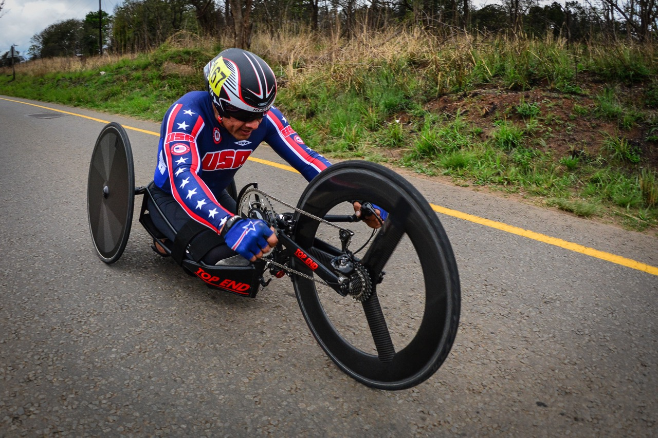 American Oscar Sanchez (H5) almost didn't make it to the start yet managed to secure a silver medal in the TT on day one of the 2015 UCI Para-cycling Road World Cup in Pietermaritzburg on Friday 11 September. Photo credit: Darren Goddard