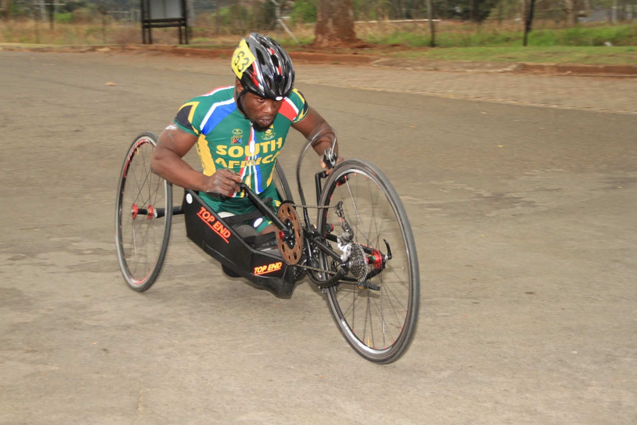 South African Simon Makgobela (H5) had a strong race and finished sixth in the TT on day one of the 2015 UCI Para-cycling Road World Cup in Pietermaritzburg on Friday 11 September. Photo credit: Mylene Paynter