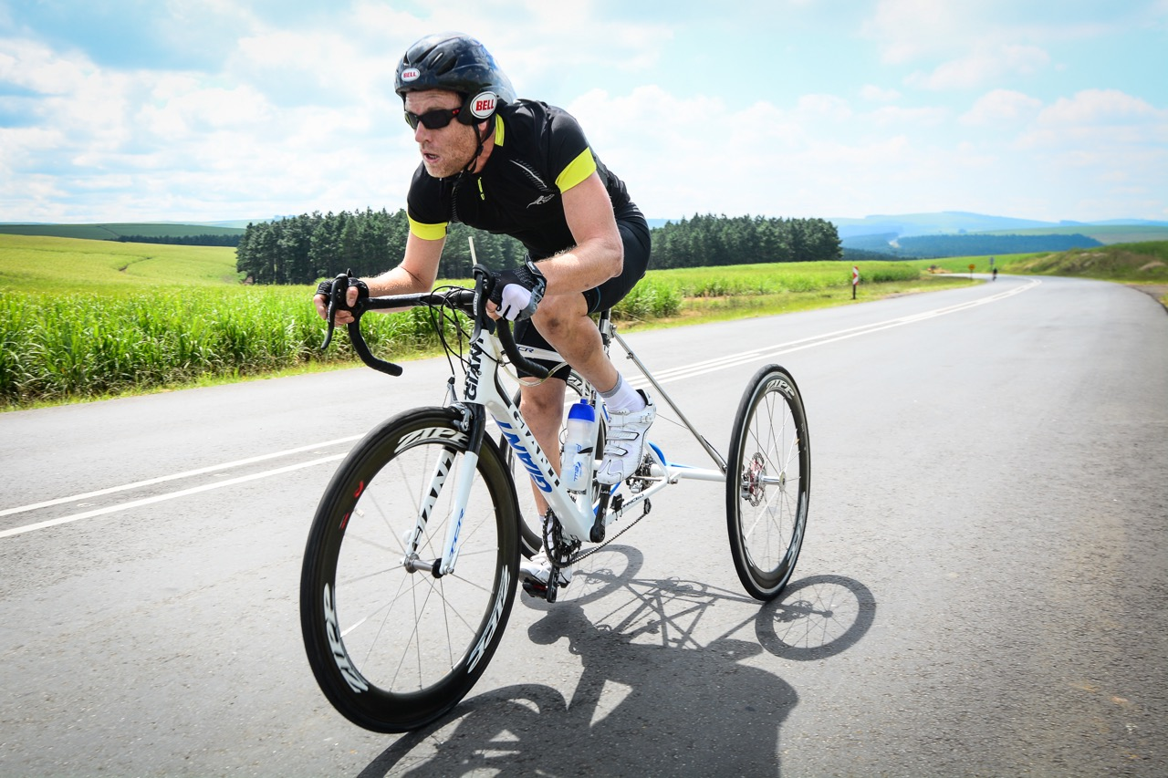Men's T2 winner Gerhard Viljoen put in a solid performance during Time Trial at the 2016 SA National Road, Time Trial and Para-cycling Championships in Wartburg, KwaZulu-Natal,on Wednesday 10 February.Photo credit: Darren Goddard