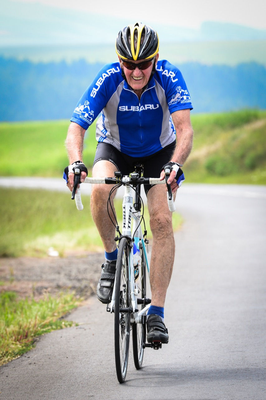 Eighty-year-old keen competitor, Arthur Duncan, returned to compete in the Men's 75+ class Time Trial at the 2016 SA National Road, Time Trial and Para-cycling Championships in Wartburg, KwaZulu-Natal,on Wednesday 10 February.Photo credit: Darren Goddard