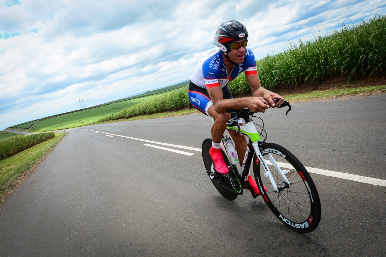 A Masters' Men competitor in amongst the stunning cane fields during the Time Trial at the 2016 SA National Road, Time Trial and Para-cycling Championships in Wartburg, KwaZulu-Natal,on Wednesday 10 February.Photo credit: Darren Goddard