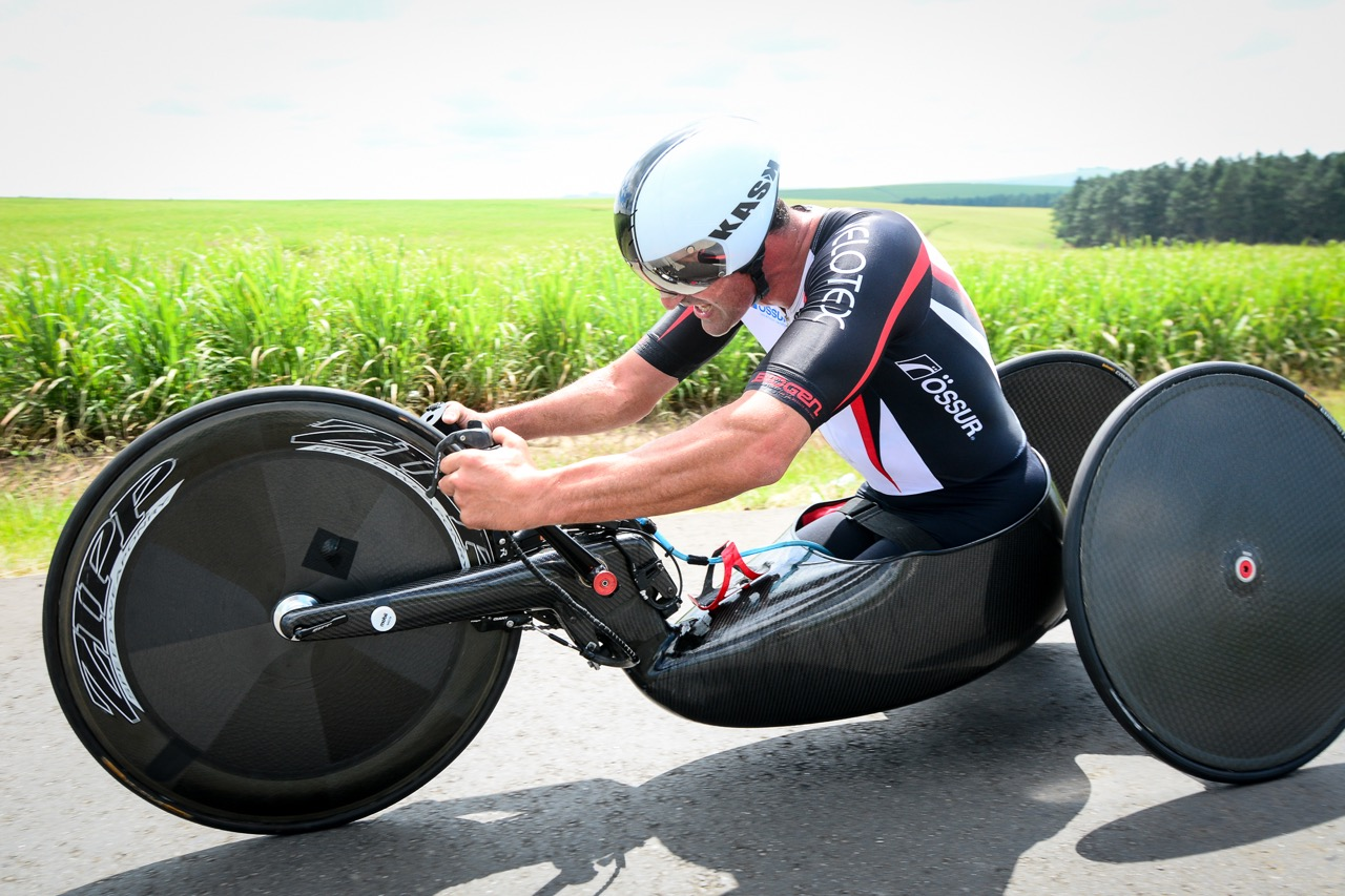 Although still early in the season for him, multiple Paralympian and multiple World Champion H5 handcyclist, Ernst van Dyk, powered his way to yet another Time Trial Championship title at the 2016 SA National Road, Time Trial and Para-cycling Championships in Wartburg, KwaZulu-Natal,on Wednesday 10 February.Photo credit: Darren Goddard