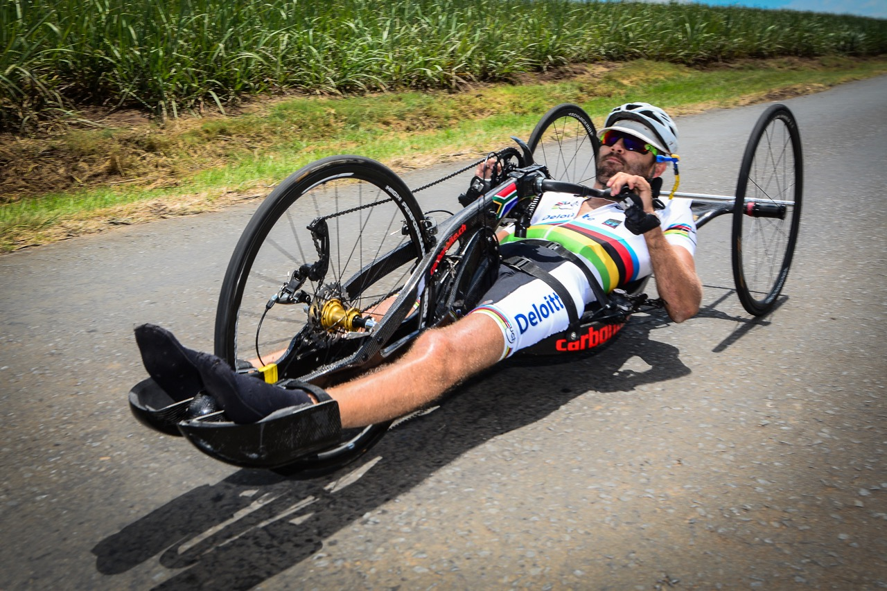 Double World Champion H1 handcyclist Pieter du Preez claimed the National Title in the Para-cycling Road Race on Day 2 of the 2016 SA National Road, Time Trial and Para-cycling Championships in Wartburg, KwaZulu-Natal, on Thursday 11 February. Photo credit: Darren Goddard