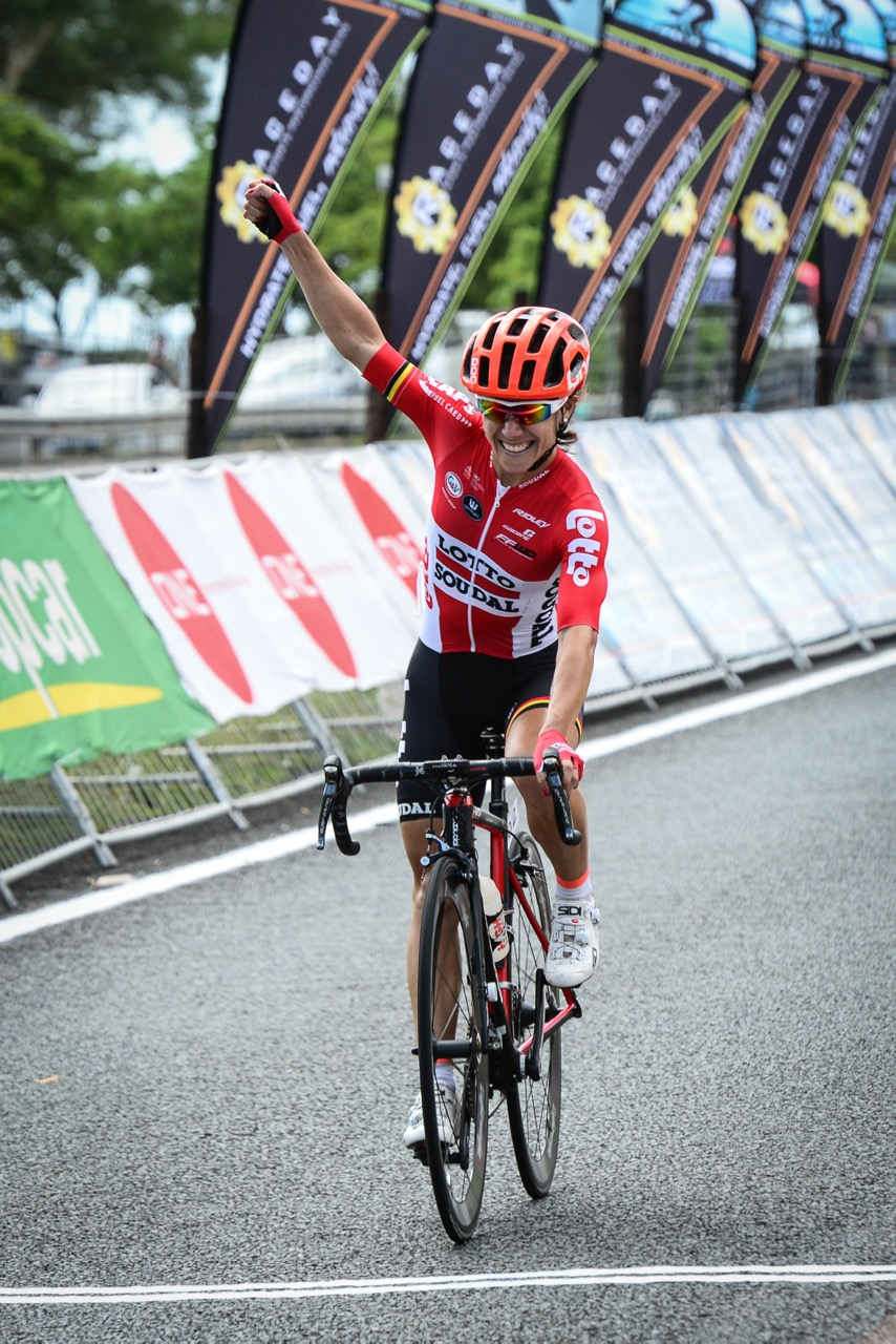 An-li Kachelhoffer (Lotto-Soudol Ladies) won the Elite Women's road race in a decisive manner when she perfectly executed what would be the final move of the day to claim her first ever National Title at the 2016 SA National Road, Time Trial and Para-cycling Championships in Westville, KwaZulu-Natal,on Saturday 13 February.Photo credit: Darren Goddard