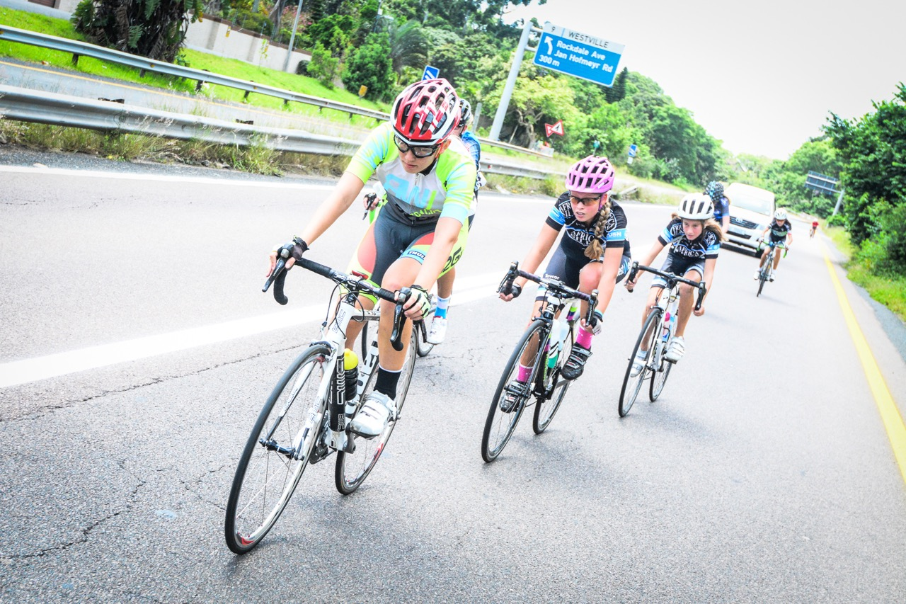 Chloe Bateson (13) leads out the U14 Girls in their 34km race at the 2016 SA National Road, Time Trial and Para-cycling Championships in Westville, KwaZulu-Natal,on Saturday 13 February.Photo credit: Darren Goddard