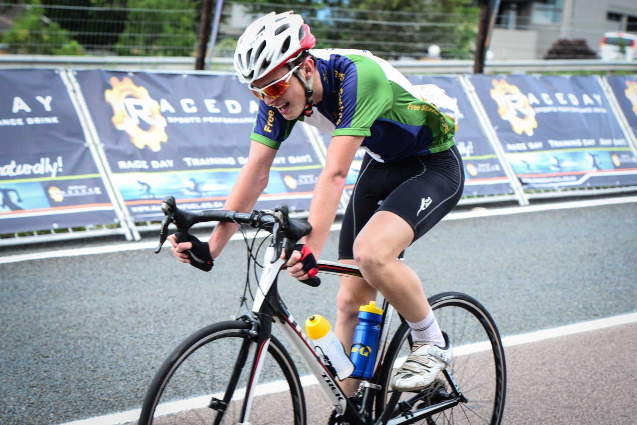 Free State cyclist Ben Britz (16) claimed the U16 Boys National Title in a very tight race over the 85-kilometre distance at the 2016 SA National Road, Time Trial and Para-cycling Championships in Westville, KwaZulu-Natal,on Saturday 13 February.Photo credit: Darren Goddard