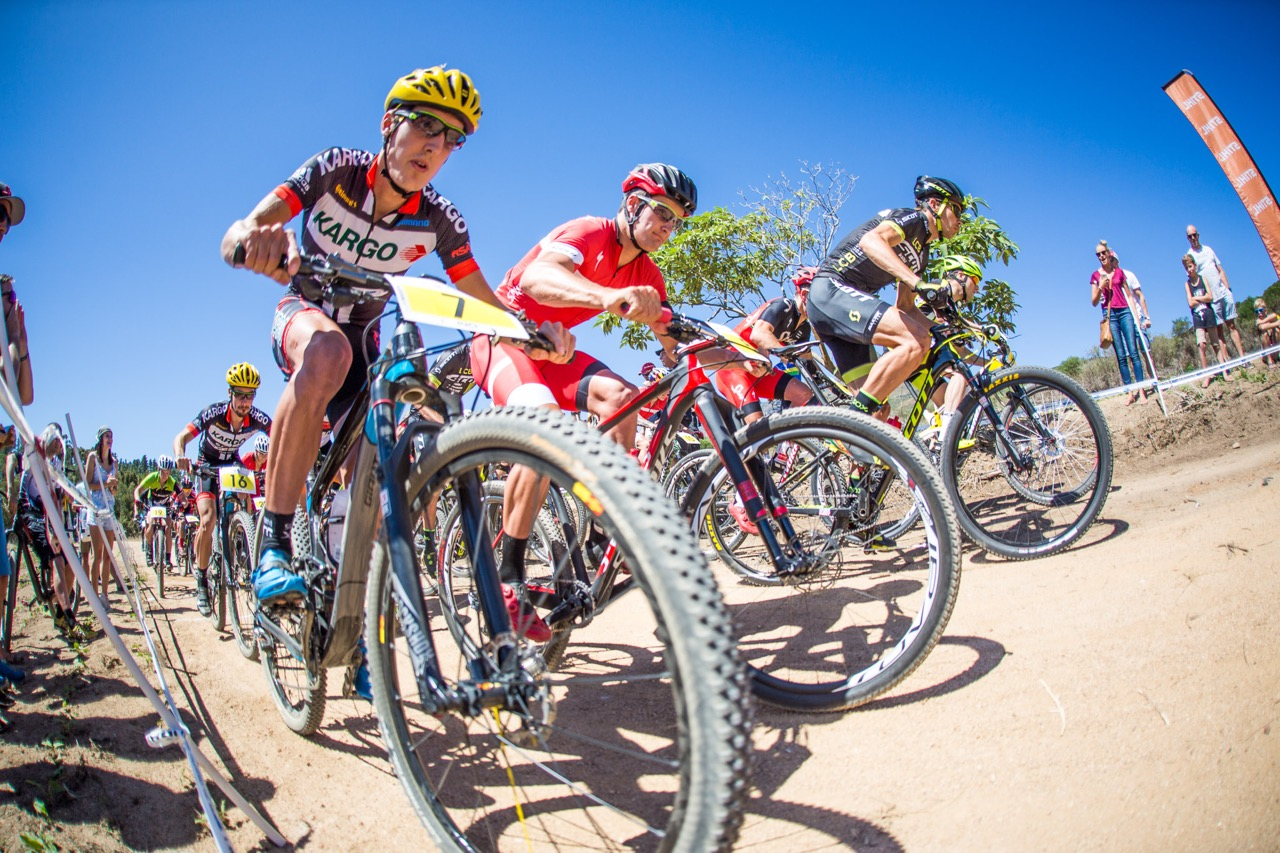 A strong field of Pro-Elite Men riders from across the world took part, representing countries such as New Zealand, Netherlands, USA, Denmark, Namibia, Switzerland and Germany during round two of the Stihl 2016 SA XCO Cup Series at Helderberg Farms, Somerset West, on Saturday 27 February. Photo credit: Chris Hitchcock