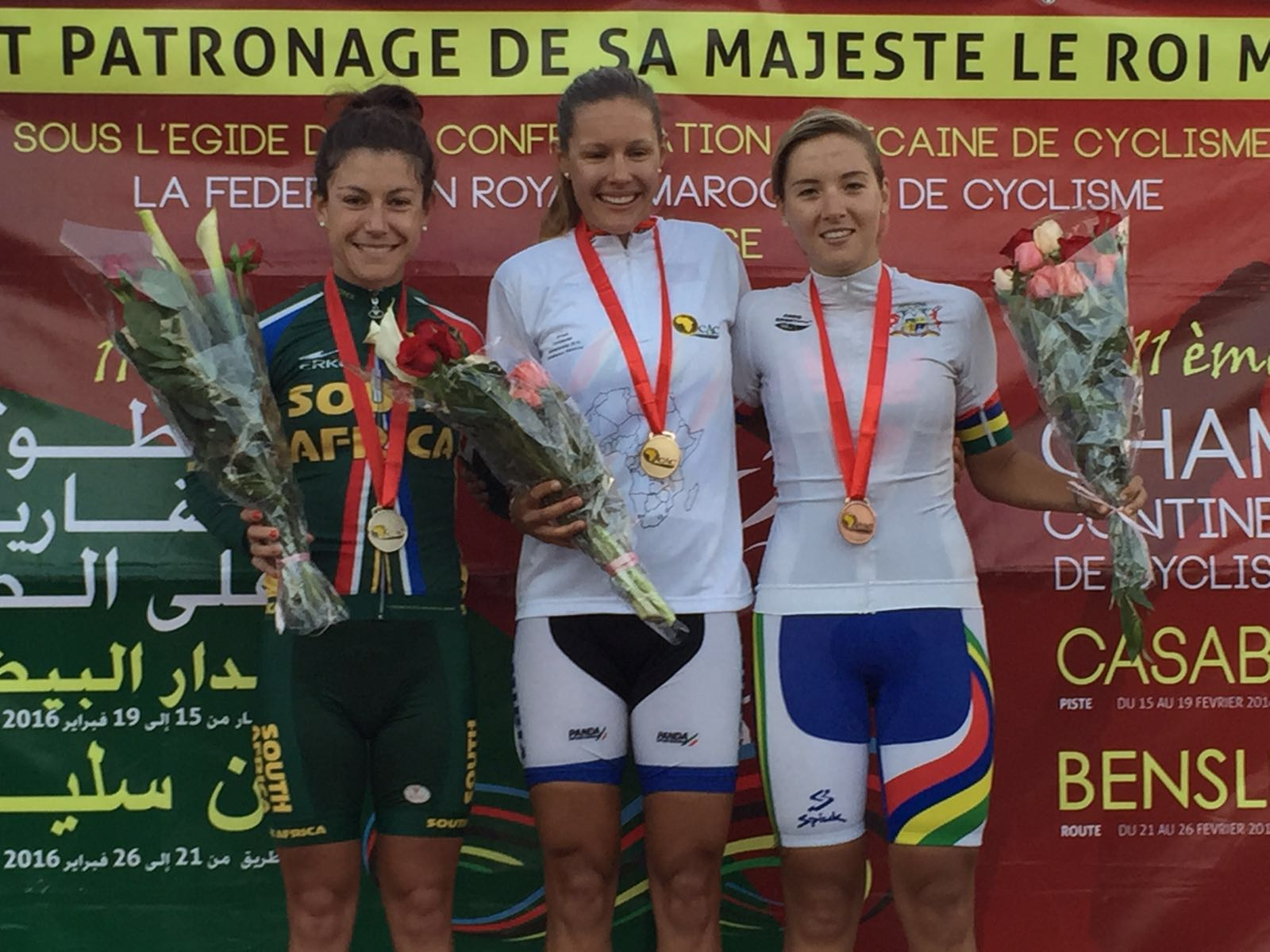 23-year-old Namibian Vera Adrian (centre) claimed a gold medal in the 120km Elite Women's Road Race at the 2016 CAC (African Cycling Confederation) Road Cycling Championships in Benslimane, Morocco, on Thursday 25 February. South African National Champion An-li Kachelhoffer (left) finished second and Mauritian Kimberley Le Court (right) finished third. Photo: supplied.