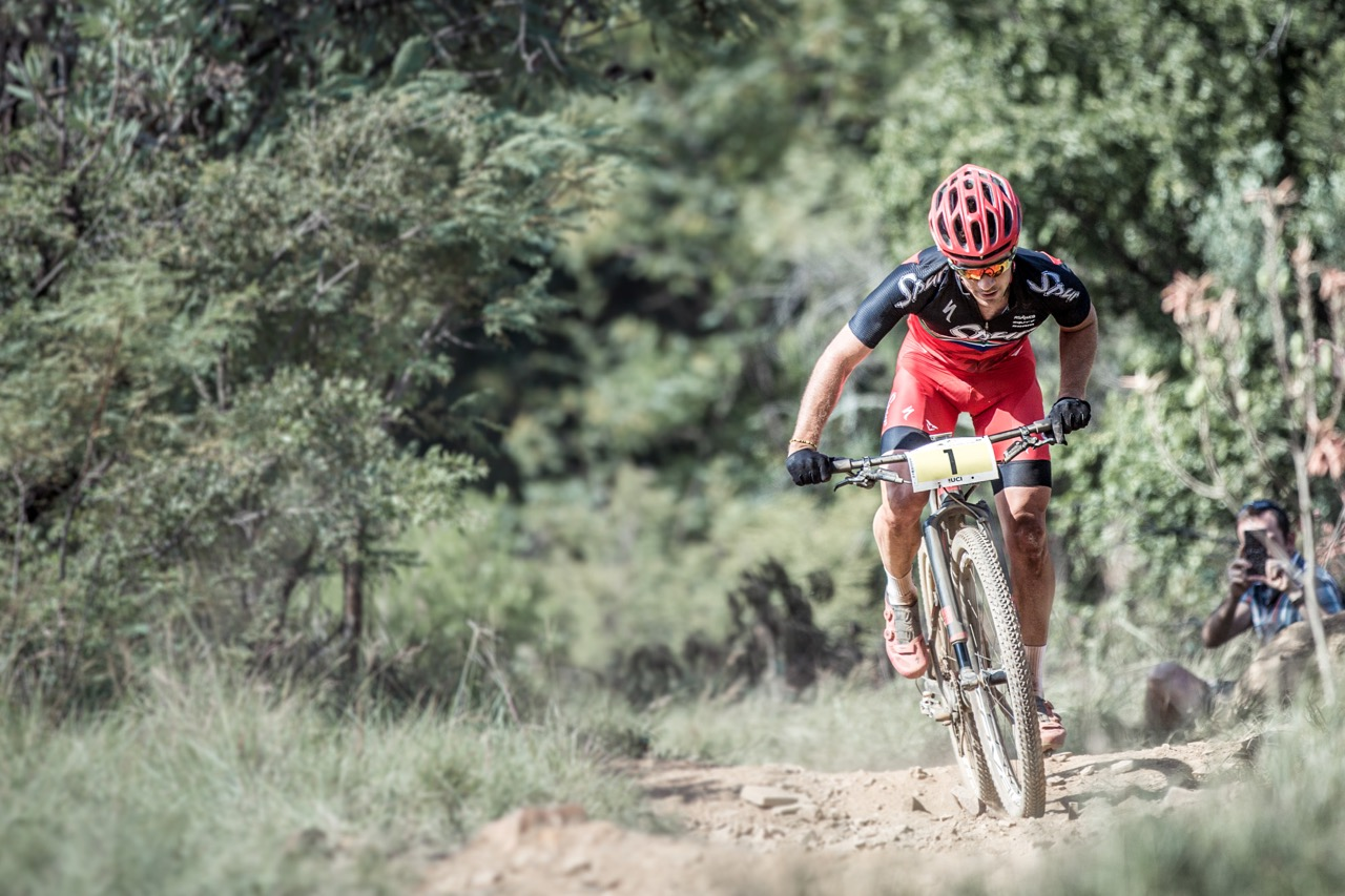 James Reid (Team Spur) won the Pro-Elite men's race at round three of the Stihl 2016 SA XCO Cup Series hosted by the City of Thswane at Wolwespruit Bike Park in Erasmuskloof, Pretoria, on Saturday 26 March. Photo credit: Hendrik Steytler Photography
