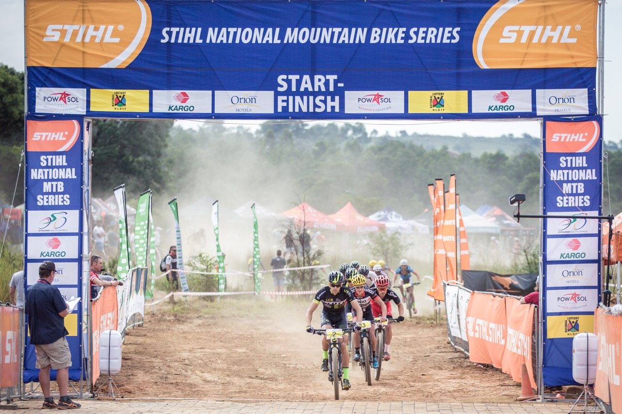 London 2012 Olympian, Philip Buys (Scott Factory Racing powered by LCB) leads the Pro-Elite men's field through the start/finish area at round three of the Stihl 2016 SA XCO Cup Series hosted by the City of Thswane at Wolwespruit Bike Park in Erasmuskloof, Pretoria, on Saturday 26 March. Photo credit: Hendrik Steytler Photography