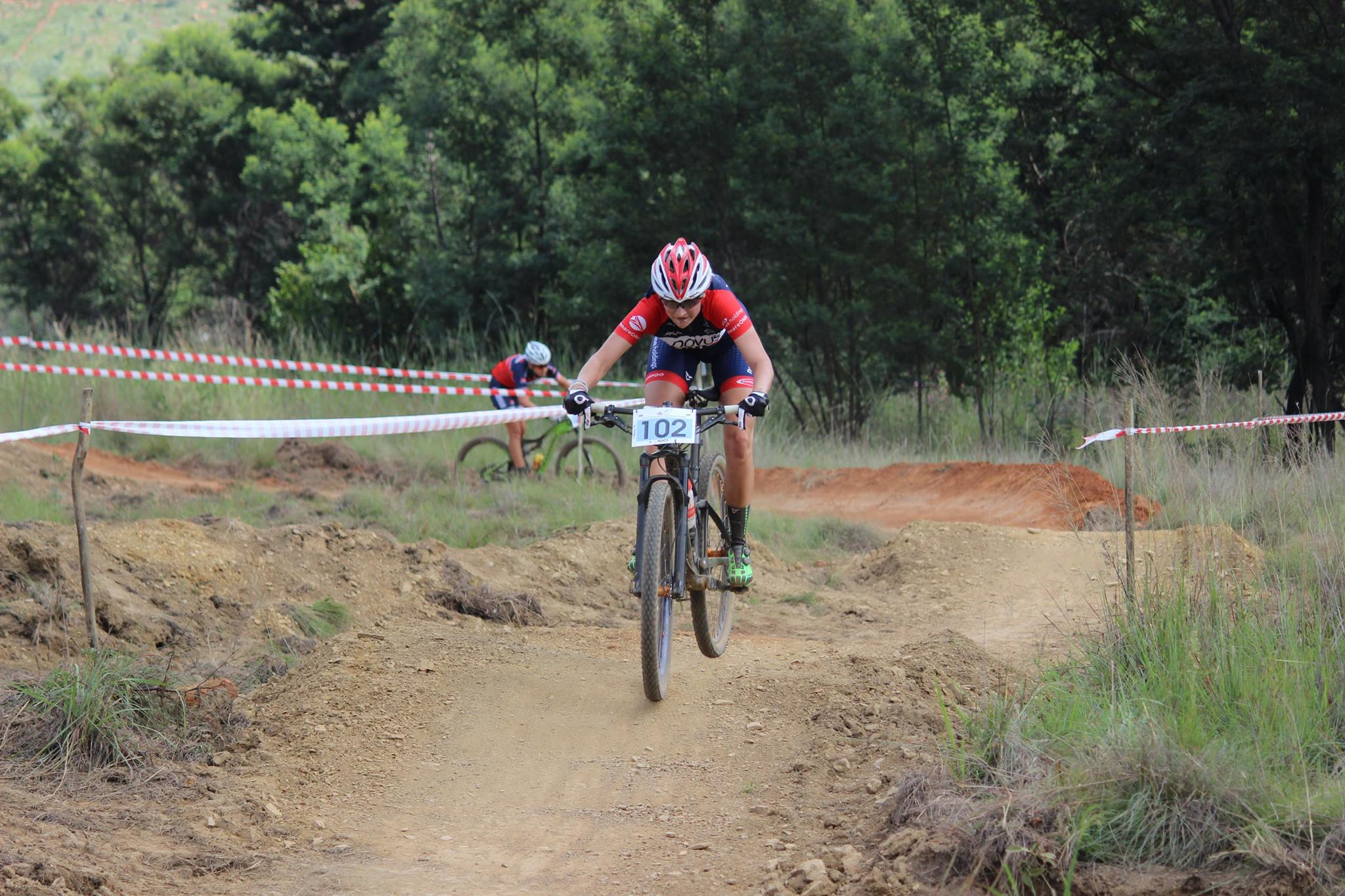 Mariske Strauss (Novus OMX Pro Team) finished in second place in the Pro-Elite Women's race at round three of the Stihl 2016 SA XCO Cup Series hosted by the City of Thswane at Wolwespruit Bike Park in Erasmuskloof, Pretoria, on Saturday 26 March. Photo credit: Alcock's Quick Snaps