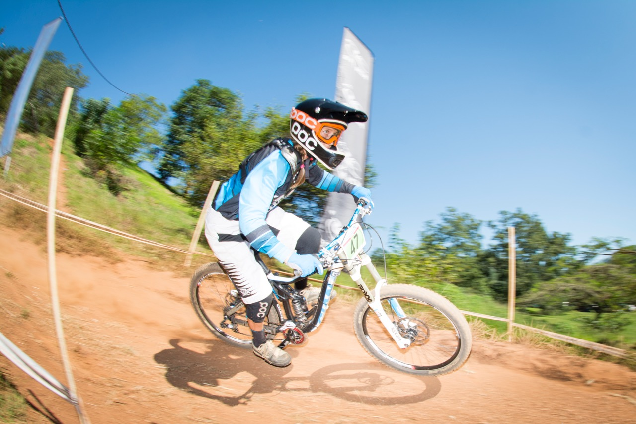 Local rider Kathryn Fourie, who races in the Sub Veteran category, claimed the overall women's victory in 02:24.22 at round two of the SA Downhill Cup Series at Giba Gorge MTB Park near Pinetown on Sunday 27 March. Photo credit: Andrew McFadden