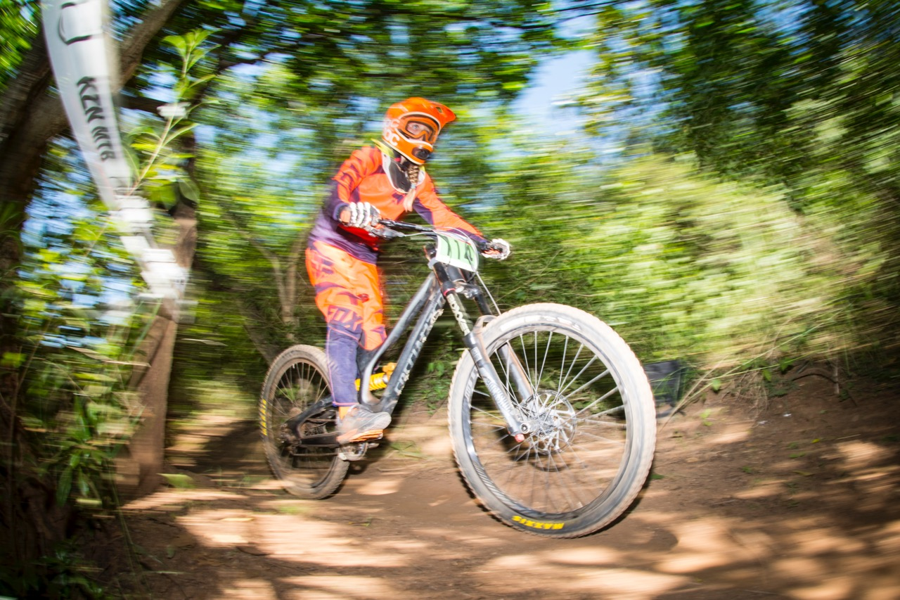 Western Cape's Charlotte Wolfson (Sub Junior) and her three brothers - Maximillian (Sub Junior), Zachariah (Sprog) and Benjamin (Nipper) - beat the heat of KZN at round two of the SA Downhill Cup Series at Giba Gorge MTB Park near Pinetown on Sunday 27 March. Photo credit: Andrew McFadden