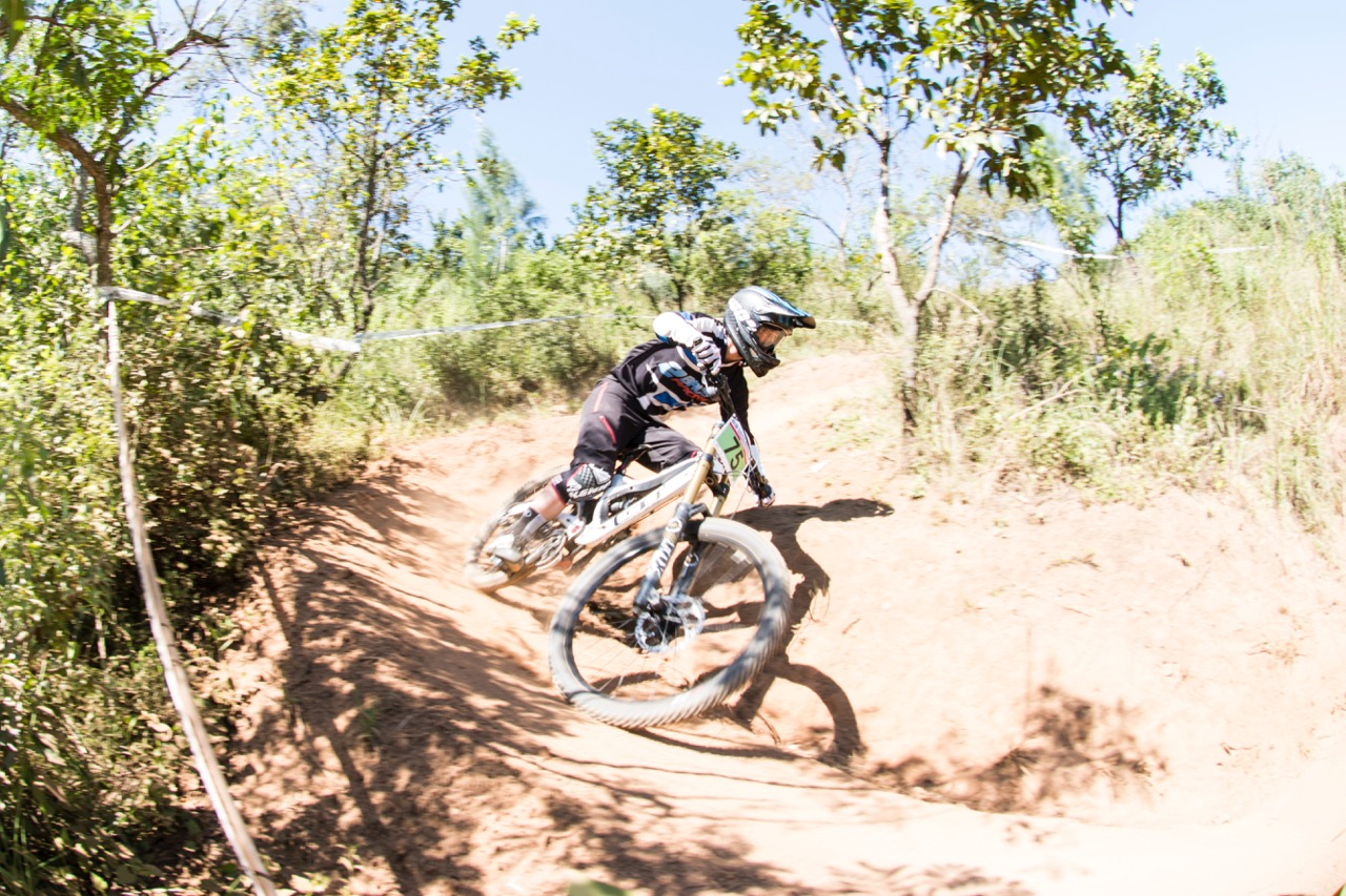 Elite Men downhill rider from KwaZulu-Natal Jonathan Philogene (2 Bro's Racing) descended the ultra steep course in 01:35.43 to take the overall men's victory at round two of the SA Downhill Cup Series at Giba Gorge MTB Park near Pinetown on Sunday 27 March. Photo credit: Andrew McFadden