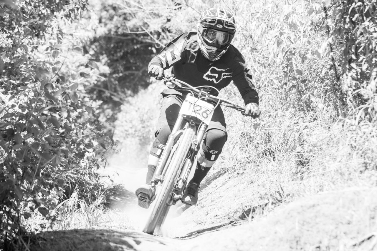 Johann Potgieter (Fox Racing) held the hot seat for some time before being tippled near the end at round two of the SA Downhill Cup Series at Giba Gorge MTB Park near Pinetown on Sunday 27 March. Photo credit: Andrew McFadden