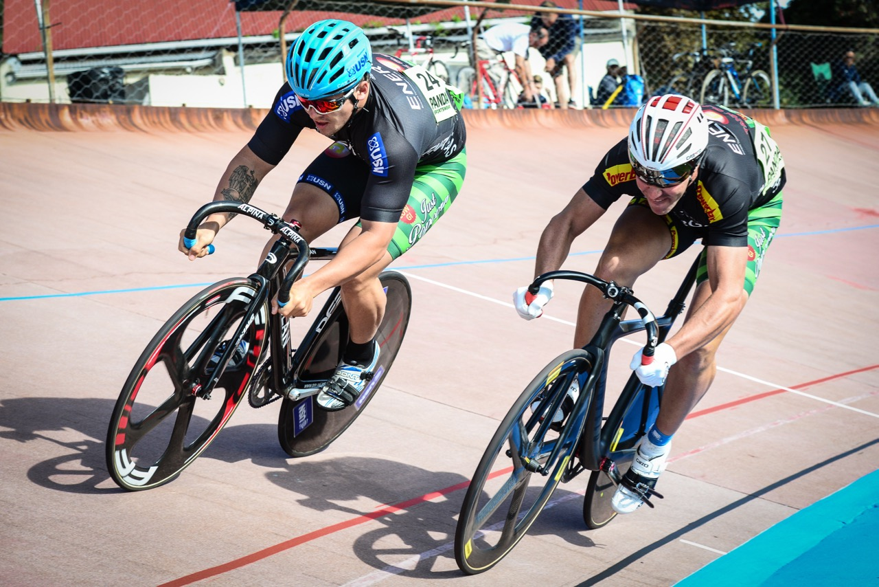 Jean Smith (left) beat his teammate Peter Lambert (Team Energas) in the Elite Men Sprint Quarter Final on day two of the 2016 South African Track and Para-cycling Championships at the Westbourne Oval in Port Elizabeth on Tuesday 29 April. Photo credit: Darren Goddard