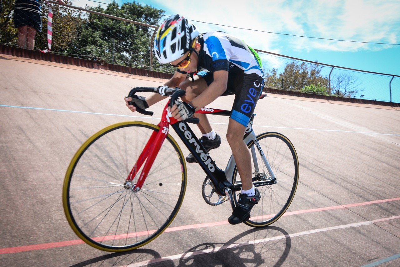Young Eathan Kulsen was one of the riders to set a new National Record on the second day of competition, winning the under-12 Boys' 1500-metre Individual Pursuit (IP) in a time of 2:25.96 on day two of the 2016 South African Track and Para-cycling Championships at the Westbourne Oval in Port Elizabeth on Tuesday 29 April. Photo credit: Darren Goddard
