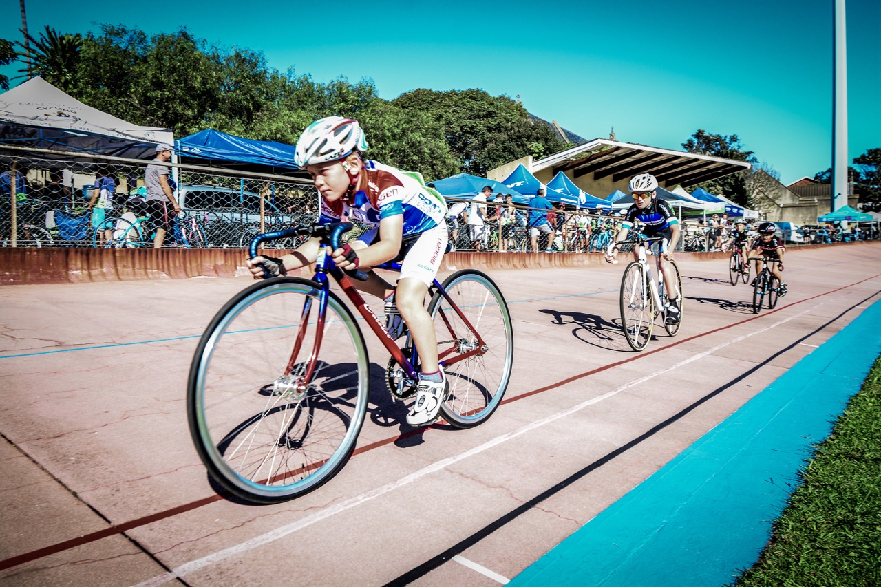 Allesandro Fanicchi won the U10 Boys 1500 on day three of the 2016 South African Track and Para-cycling Championships at the Westbourne Oval in Port Elizabeth on Wednesday 30 March. Photo credit: Darren Goddard