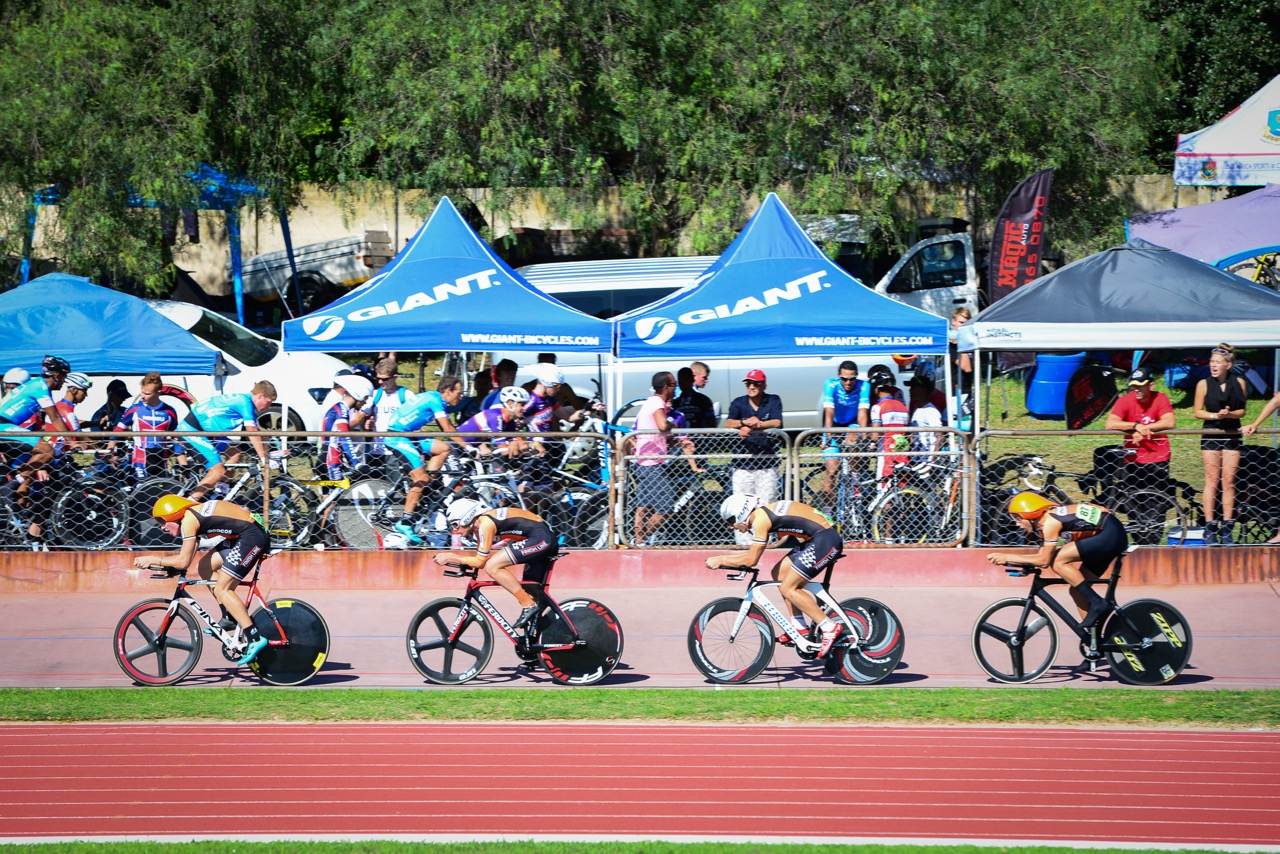 Team VWE Track Academy during the Elite Men's Team Pursuit where they claimed silver on day three of the 2016 South African Track and Para-cycling Championships at the Westbourne Oval in Port Elizabeth on Wednesday 30 March. Photo credit: Darren Goddard