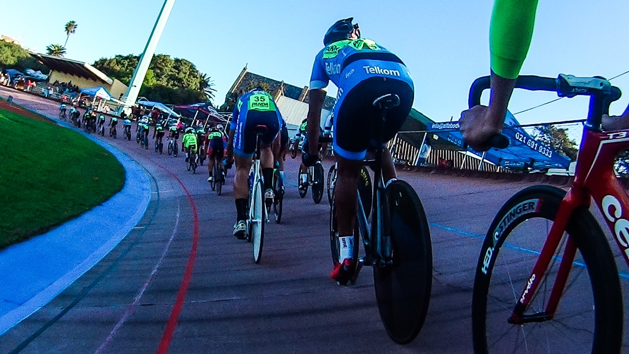 On-board action from our participant photographer during the Elite Men's Scratch (7.5km) on day four of the 2016 South African Track and Para-cycling Championships at the Westbourne Oval in Port Elizabeth on Thursday 31 March. Photo credit: Darren Goddard
