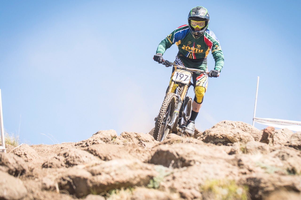 Tiaan Odendaal (RSA) claimed the Elite Men Continental Title in the Downhill race at the 2016 African Continental Mountain Bike Championships at the Afriski Resort from Tuesday 29 March to Sunday 3 April. Photo credit: Andrew McFadden