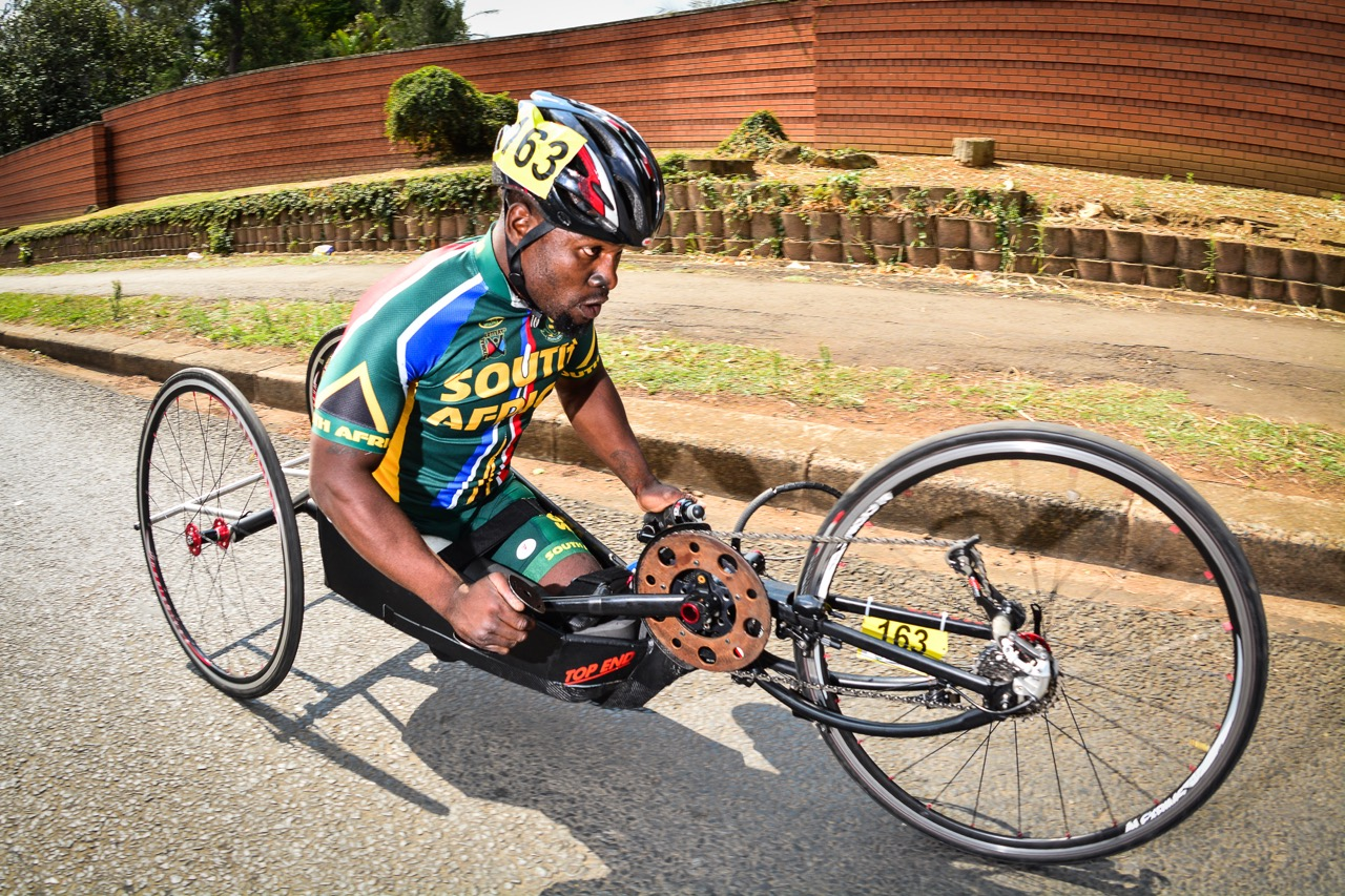 Being hosted locally, the event allows South Africa to enter a relatively big national team; Simon Makgobela will be on the start line of the 2016 UCI Para-cycling Road World Cup taking place in Pietermaritzburg, South Africa, from 7-8 May. Photo credit: Darren Goddard
