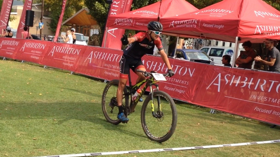 Max Knox (Lowveld Tractors/Dirk Lourens Cycles)rode a smart and calculated race to claim the victory in the Elite Men's 112-kilometre event in a time of four hours and ten minutes at the third round of the Ashburton Investments National MTB Series this year, which played host to the 2016 South African Mountain Bike Marathon Championships in Clarens, on Saturday 16 April. Photo: supplied