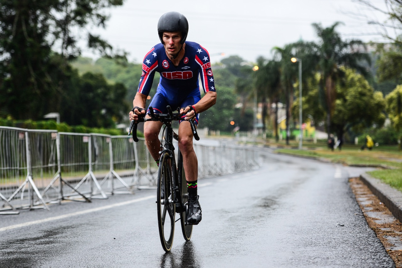 Team USA's Matthew Bigos (C1) relished the cooler, wet weather as he delivered his first World Cup Time Trial victory in 31:15.643 at the 2016 UCI Para-cycling Road World Cup at Alexandra Park, Pietermaritzburg, on Saturday 7 May. Photo Credit: Darren Goddard