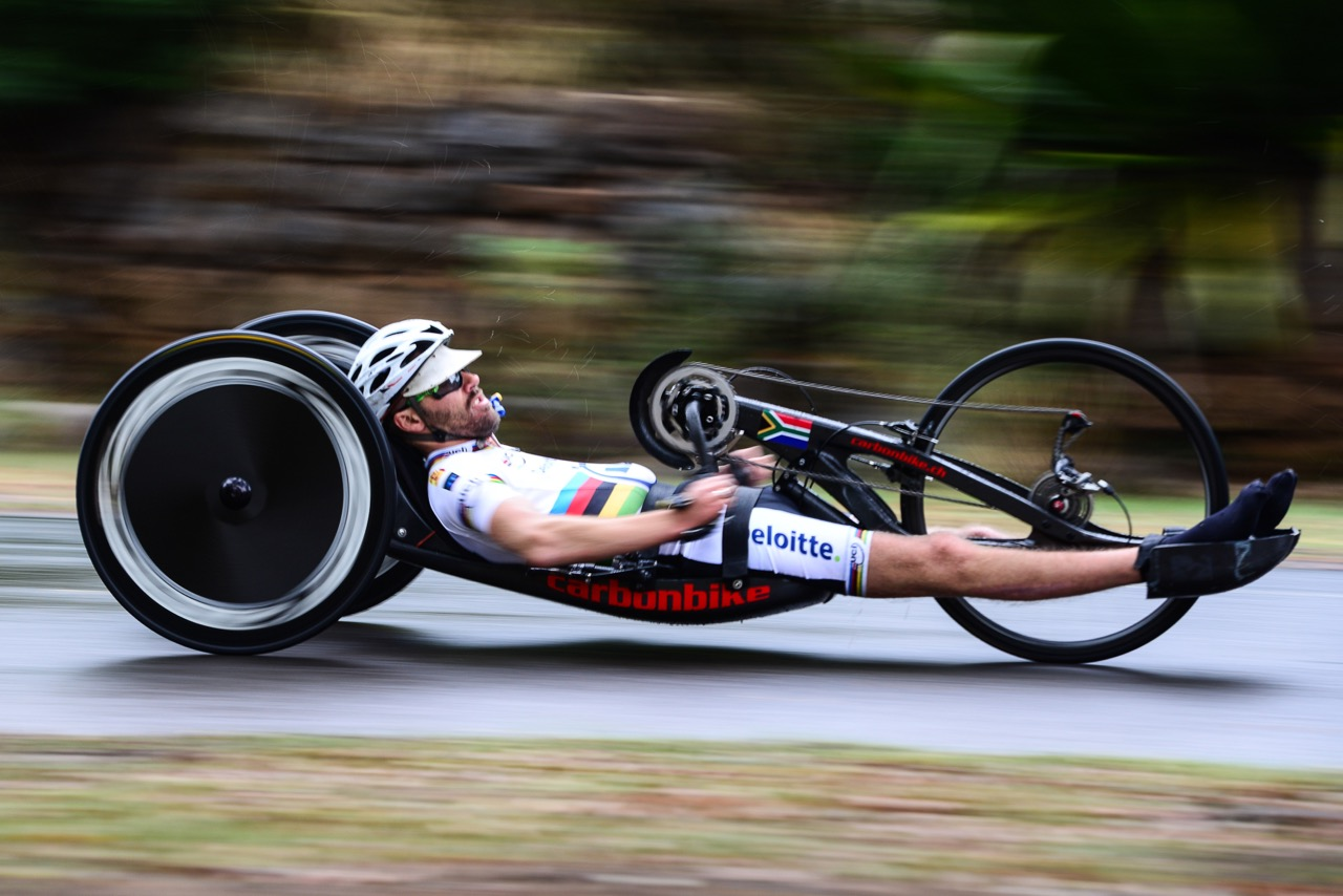 Double World Champion Pieter du Preez (RSA) blitzed the 12.3-kilometre H1 category in 33:15.891 during the Time Trial at the 2016 UCI Para-cycling Road World Cup at Alexandra Park, Pietermaritzburg, on Saturday 7 May. Photo Credit: Darren Goddard