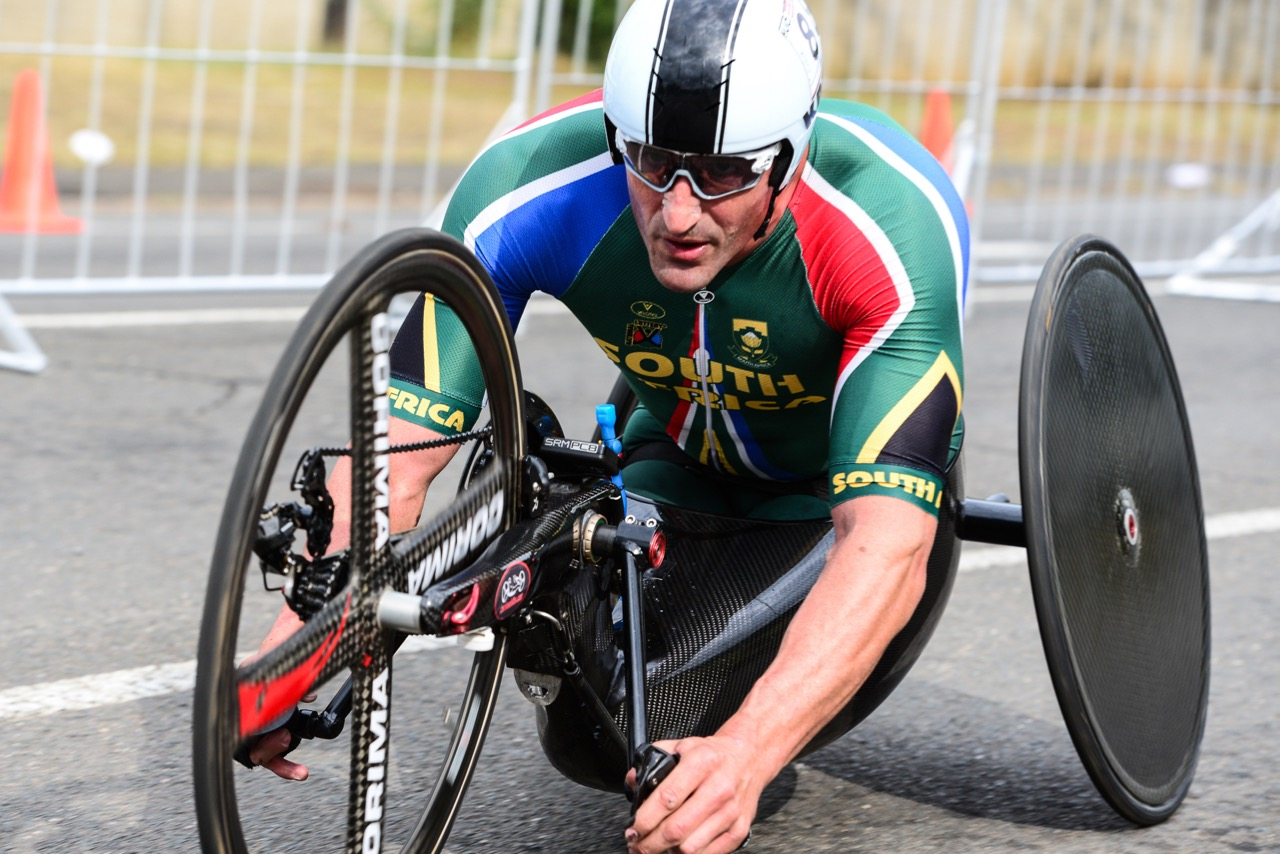 South African Ernst van Dyk powered his way to a gold medal when he beat Portugal's Luis Miguel Costa by a margin of two-and-a-half minutes during the H5 hand cycling Time Trial at the 2016 UCI Para-cycling Road World Cup at Alexandra Park, Pietermaritzburg, on Saturday 7 May. Photo Credit: Darren Goddard