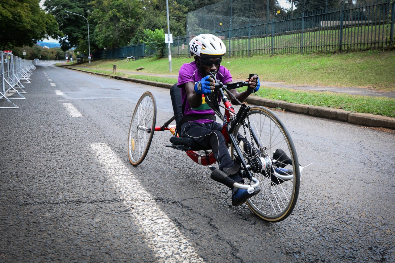 Ghanaian Yaw Korsah was proud to be competing in his first World Cup race and claimed a bronze medal in the Men's H2 Time Trial at the 2016 UCI Para-cycling Road World Cup at Alexandra Park, Pietermaritzburg, on Saturday 7 May. Photo Credit: Darren Goddard