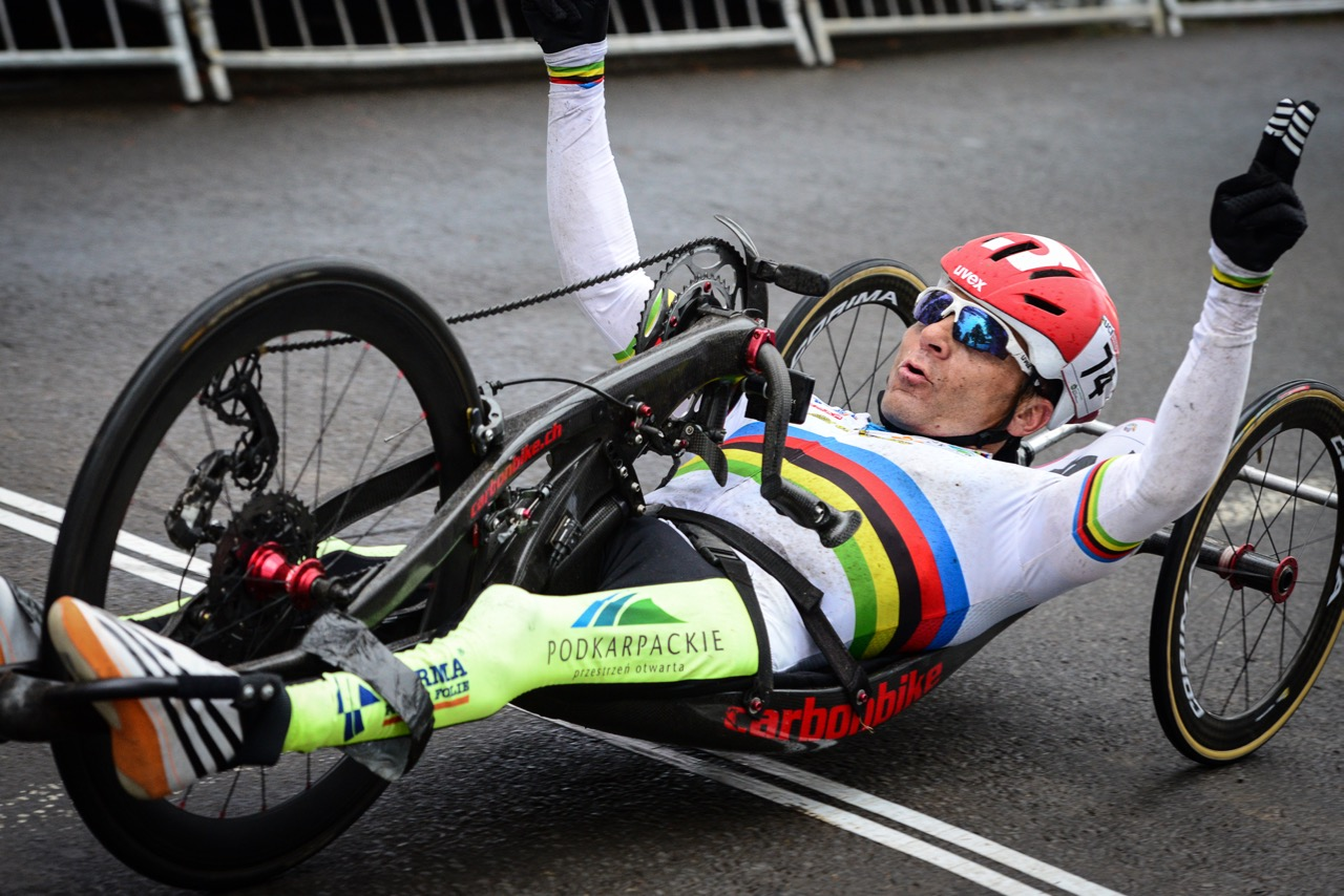 The man to beat in the H4 race was Polish World Champion Rafal Wilk who displayed dominance from the get go, taking the lead and never looking back at the 2016 UCI Para-cycling Road World Cup at Alexandra Park, Pietermaritzburg, on Sunday 8 May. Photo Credit: Darren Goddard